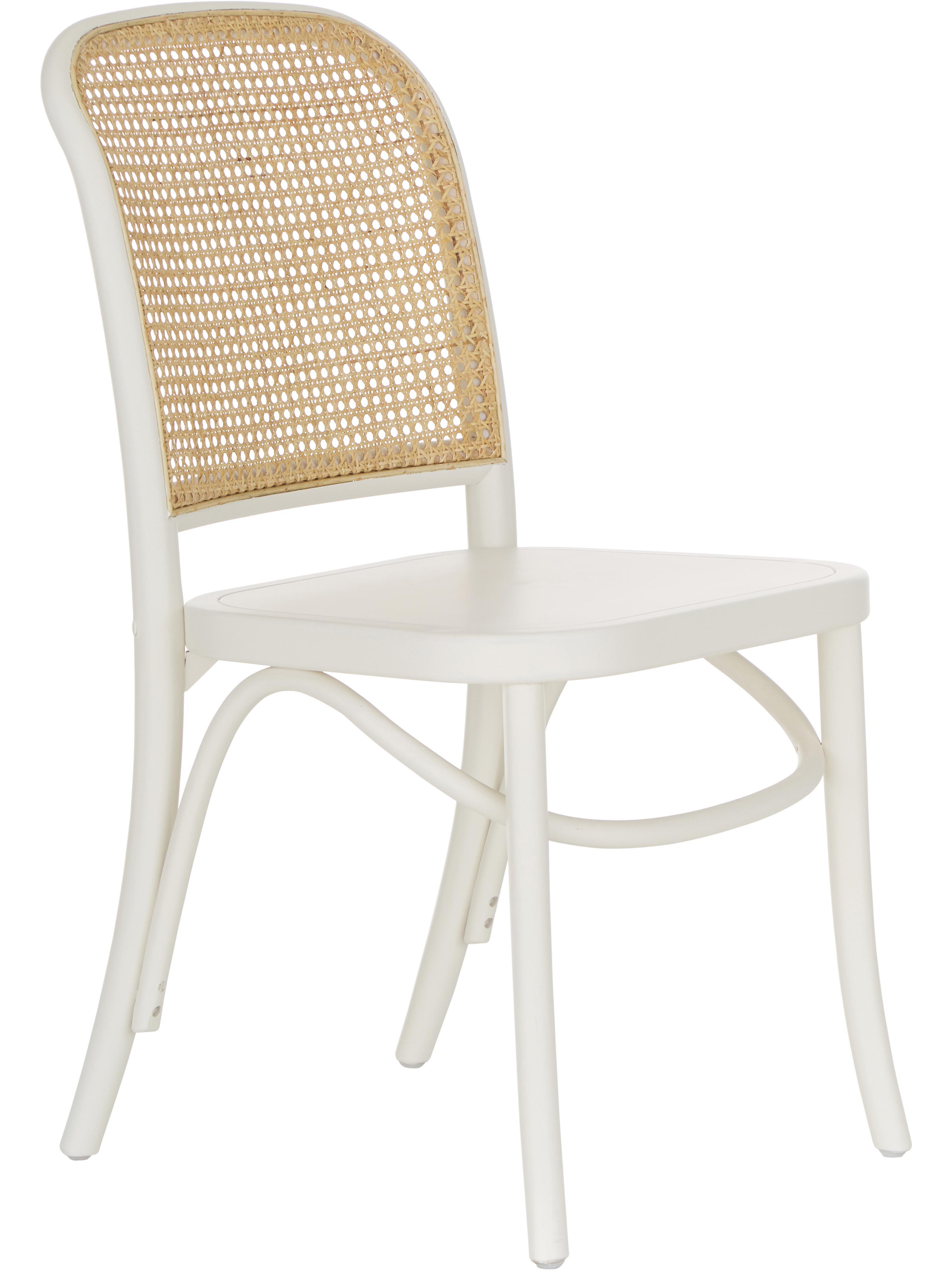 Houten stoel Franz met Weens vlechtwerk, Zitvlak: gelakt multiplex, Frame: massief gelakt berkenhout, Wit, B 48  x D 59 cm