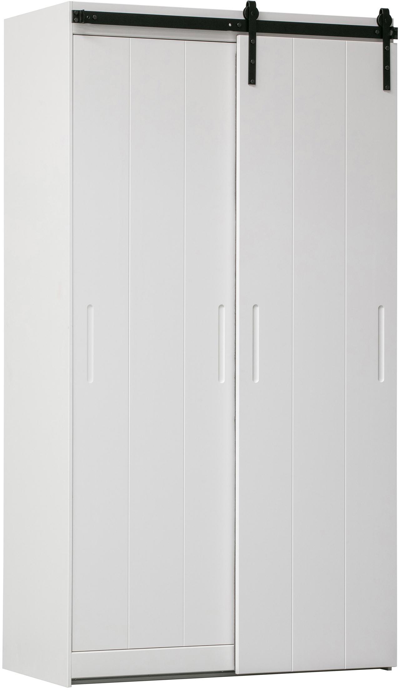 Szafa Luuk, Korpus: drewno sosnowe, lakierowa, Biały, S 115 x W 218 cm