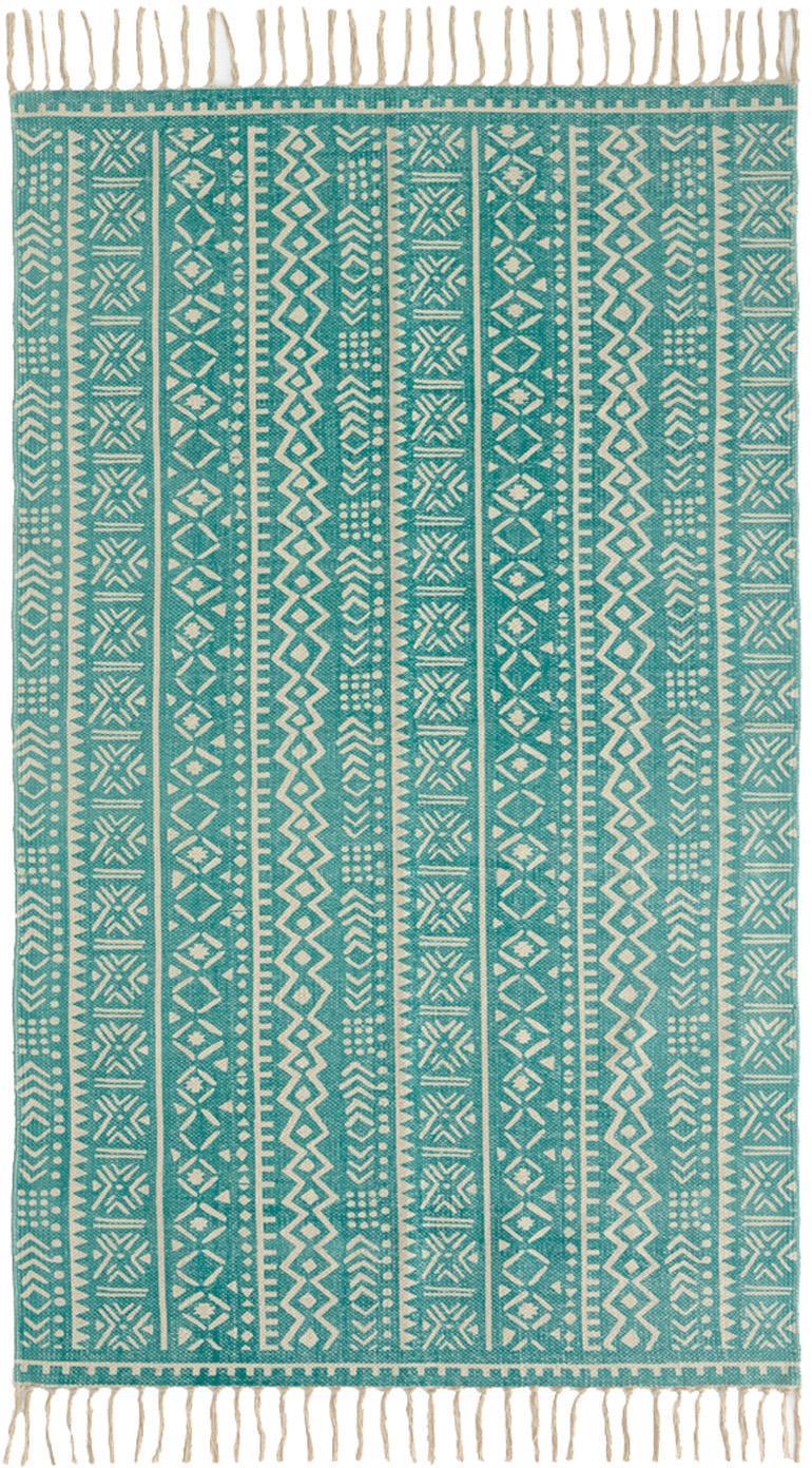 Teppich Afra mit grafischem Muster in Türkis-Weiß, 100% Baumwolle, Türkis, Gebrochenes Weiß, B 90 x L 150 cm (Größe XS)