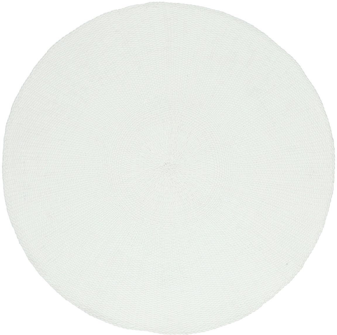 Runde Tischsets Kolori aus Papierfasern, 2 Stück, Papierfasern, Weiß, Ø 38 cm
