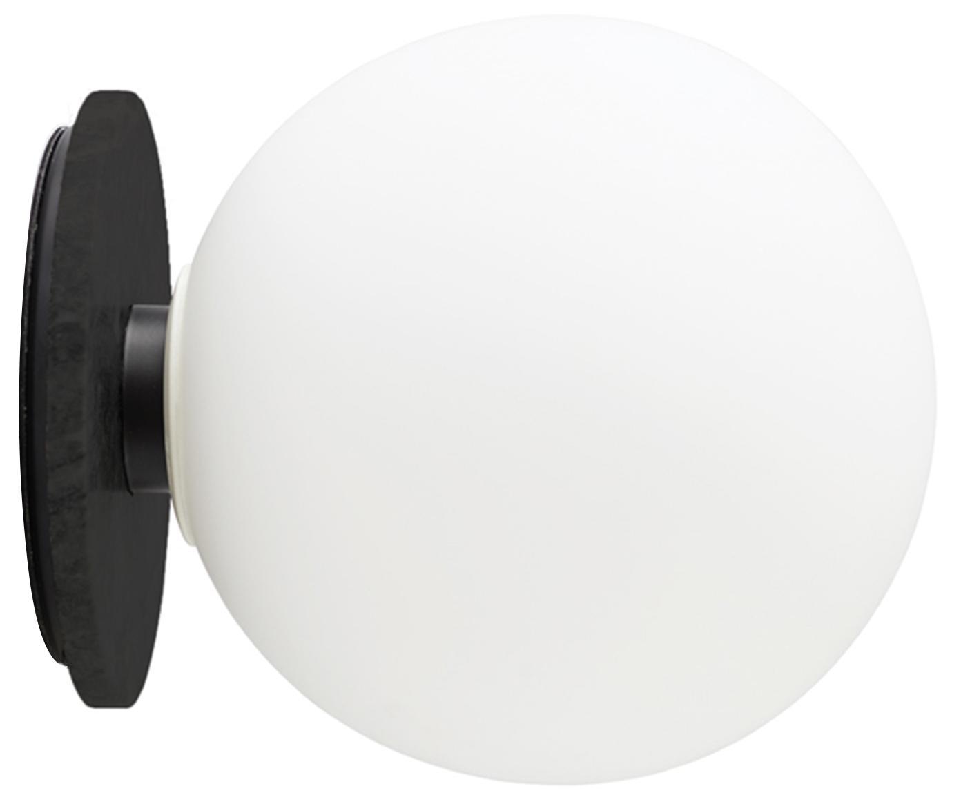 LED Wand- und Deckenleuchte TR Bulb, Lampenschirm: Opalglas, Lampenfuß: Stahl, pulverbeschichtet, Weiß, Schwarz, Ø 20 x T 22 cm