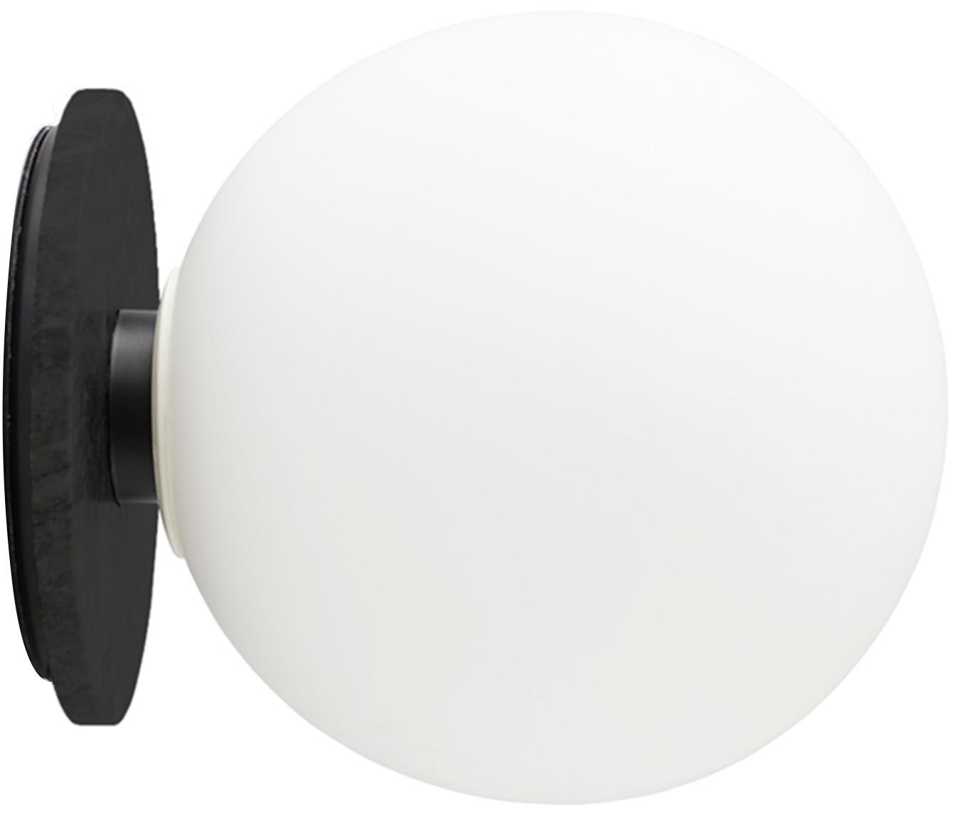 Wandlamp TR Bulb, Lampenkap: opaalglas, Lampvoet: gepoedercoat staal, Wit, zwart, Ø 20 x D 22 cm