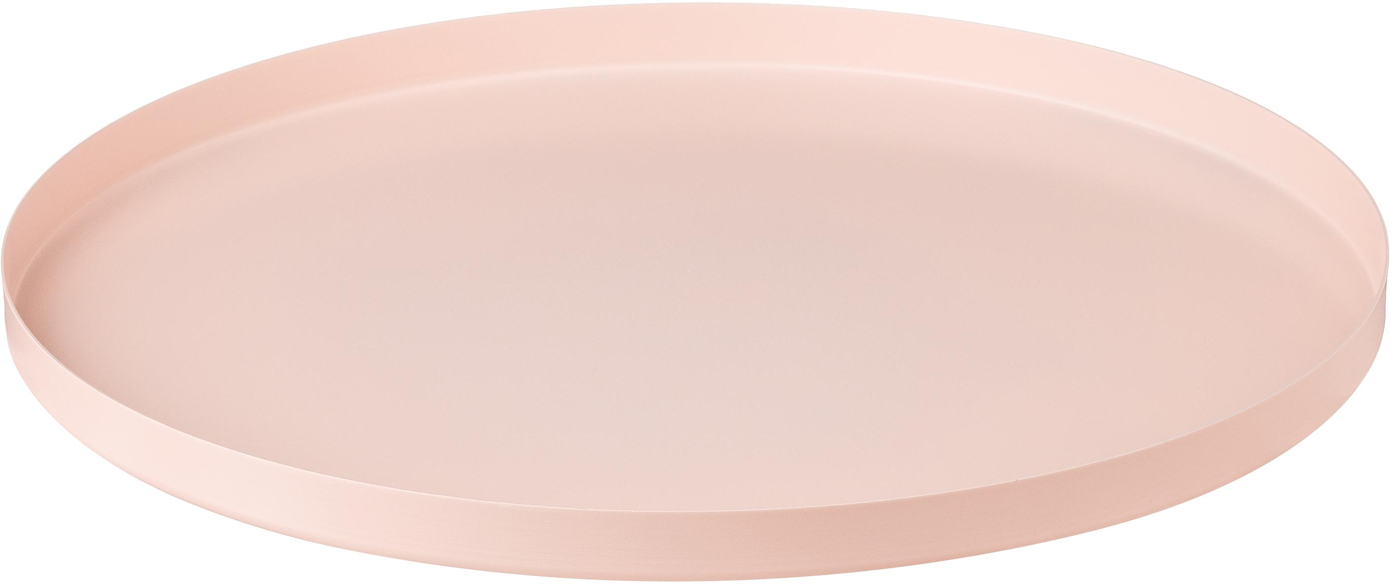 Vassoio decorativo Circle, Acciaio inossidabile, verniciato a polvere, Rosa, Ø 30 x A 2 cm