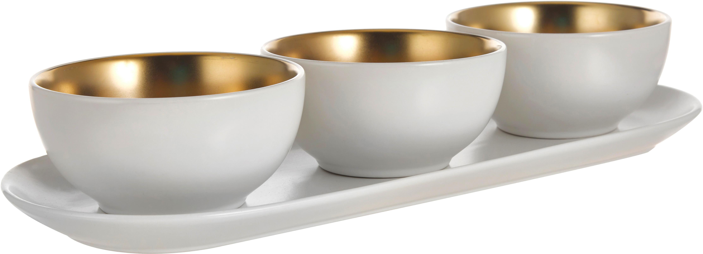 Serveerset Glitz, 4-delig, Keramiek, Wit, goudkleurig, Ø 11 x H 6 cm