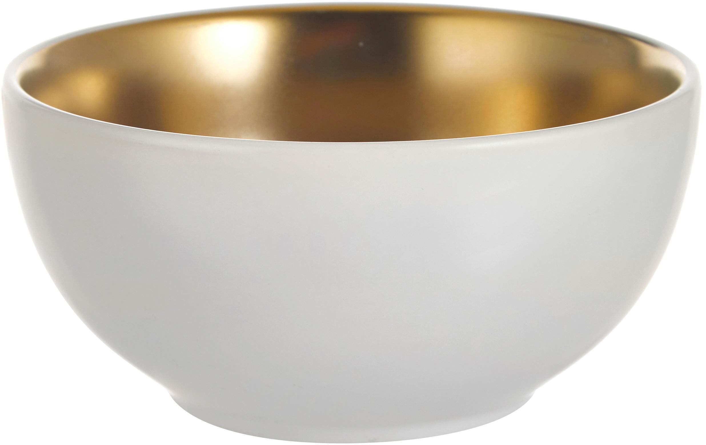 Dipschälchen Glitz in Weiß/Gold, 4er-Set, Steingut, Weiß, Goldfarben, Ø 11 x H 6 cm