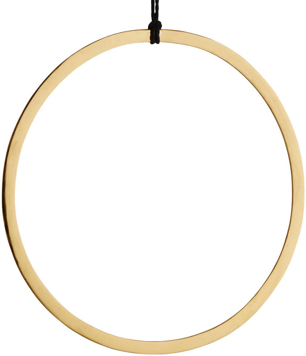 Dekoracja ścienna z metalu Turi, Metal powlekany, bawełna, Odcienie mosiądzu, czarny, Ø 28 cm