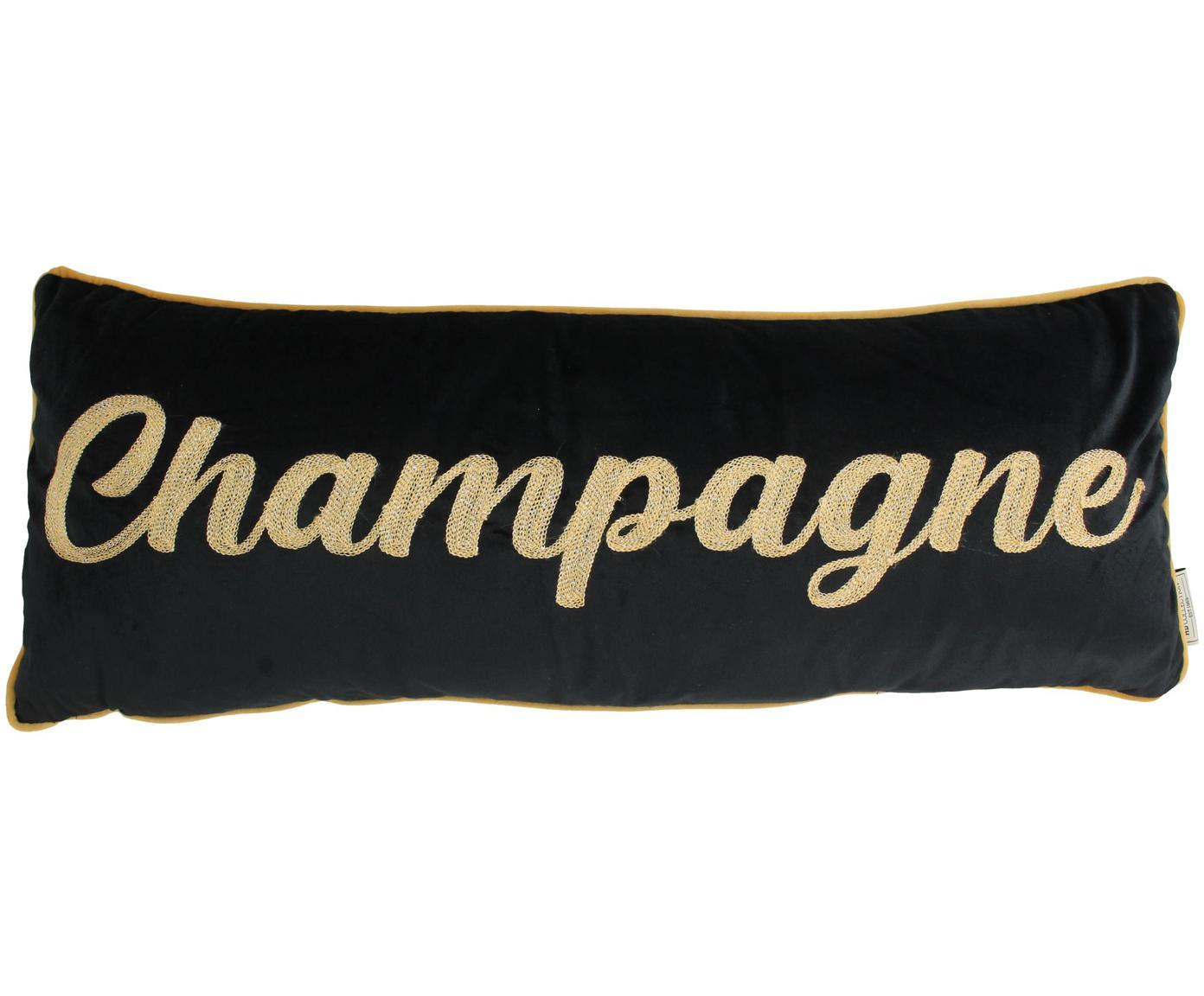 Fluwelen kussen Champagne, met vulling, Polyester fluweel, Zwart, goudkleurig, 30 x 80 cm