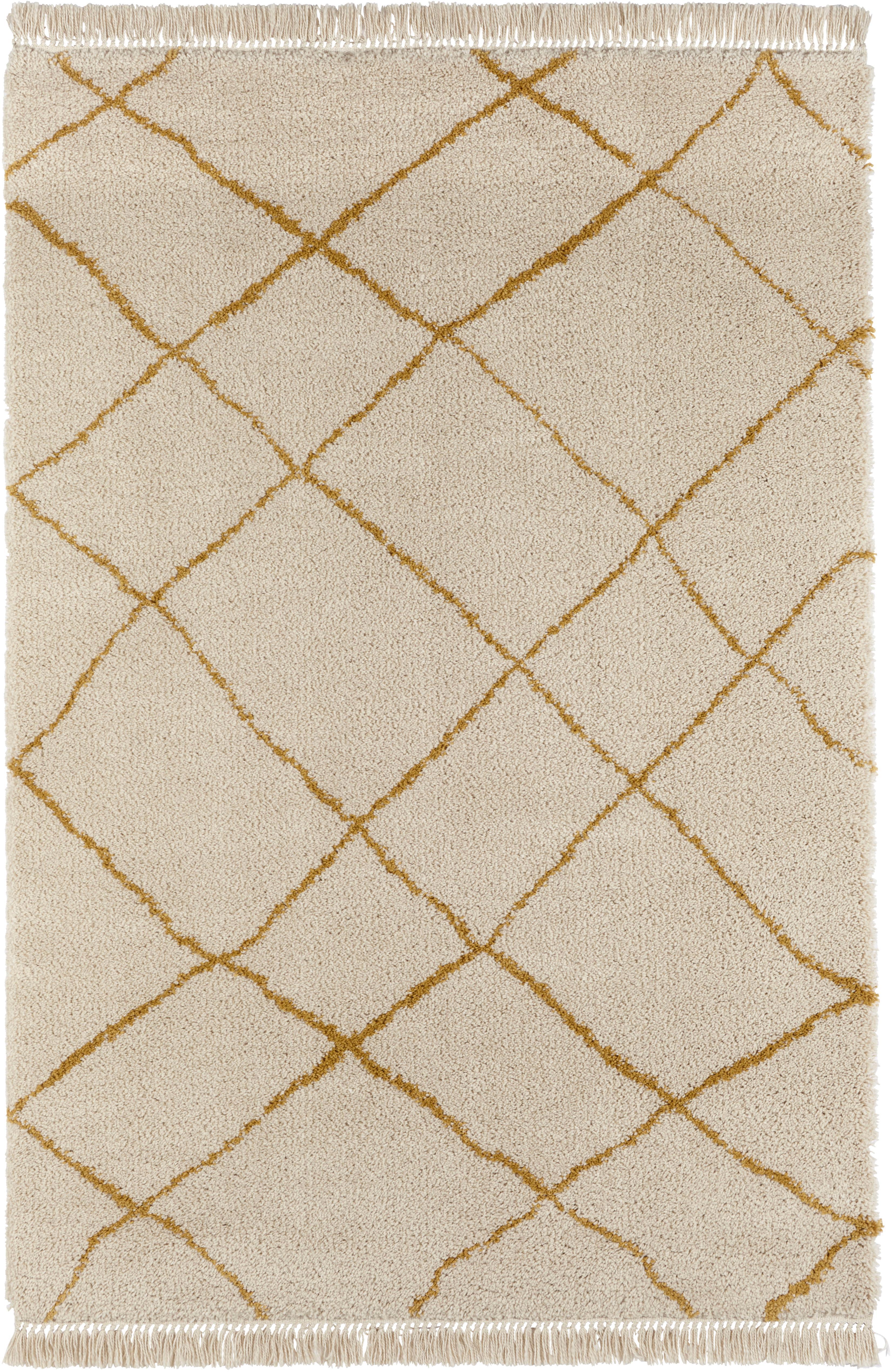 Flauschiger Hochflor-Teppich Primrose in Creme mit Rautenmuster, Creme, Goldgelb, B 160 x L 230 cm (Grösse M)