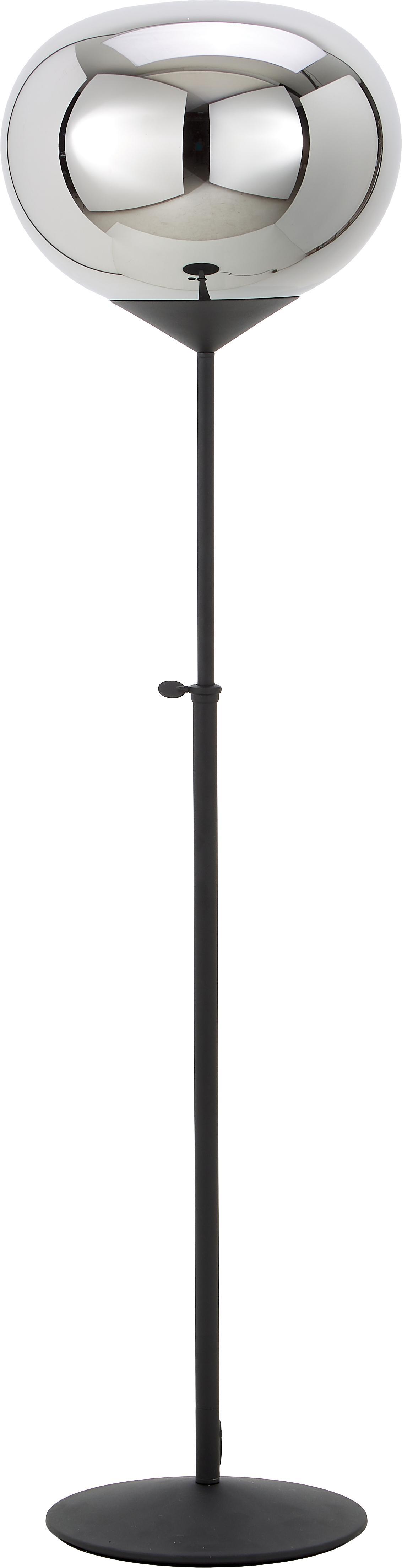 Vloerlamp Drop, in hoogte verstelbaar, Lampenkap: verchroomd glas, Lampvoet: gelakt metaal, Chroomkleurig, zwart, Ø 36 x H 164 cm