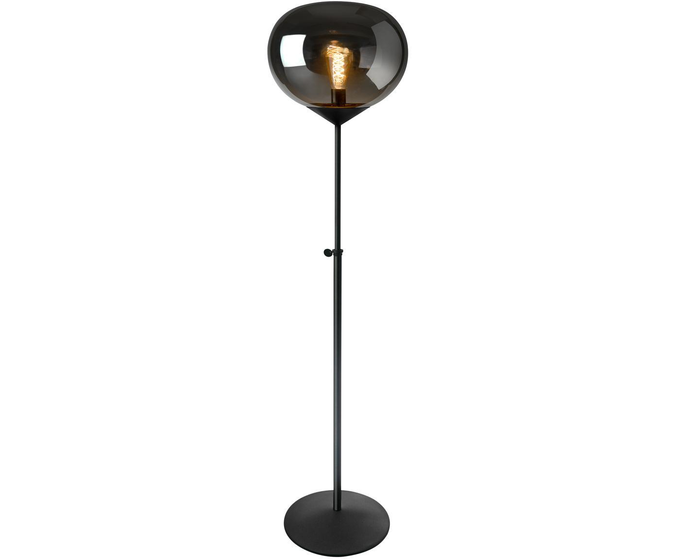 Stehlampe Drop, höhenverstellbar, Lampenschirm: Glas, verchromt, Lampenfuß: Metall, lackiert, Chrom, Schwarz, Ø 36 x H 164 cm
