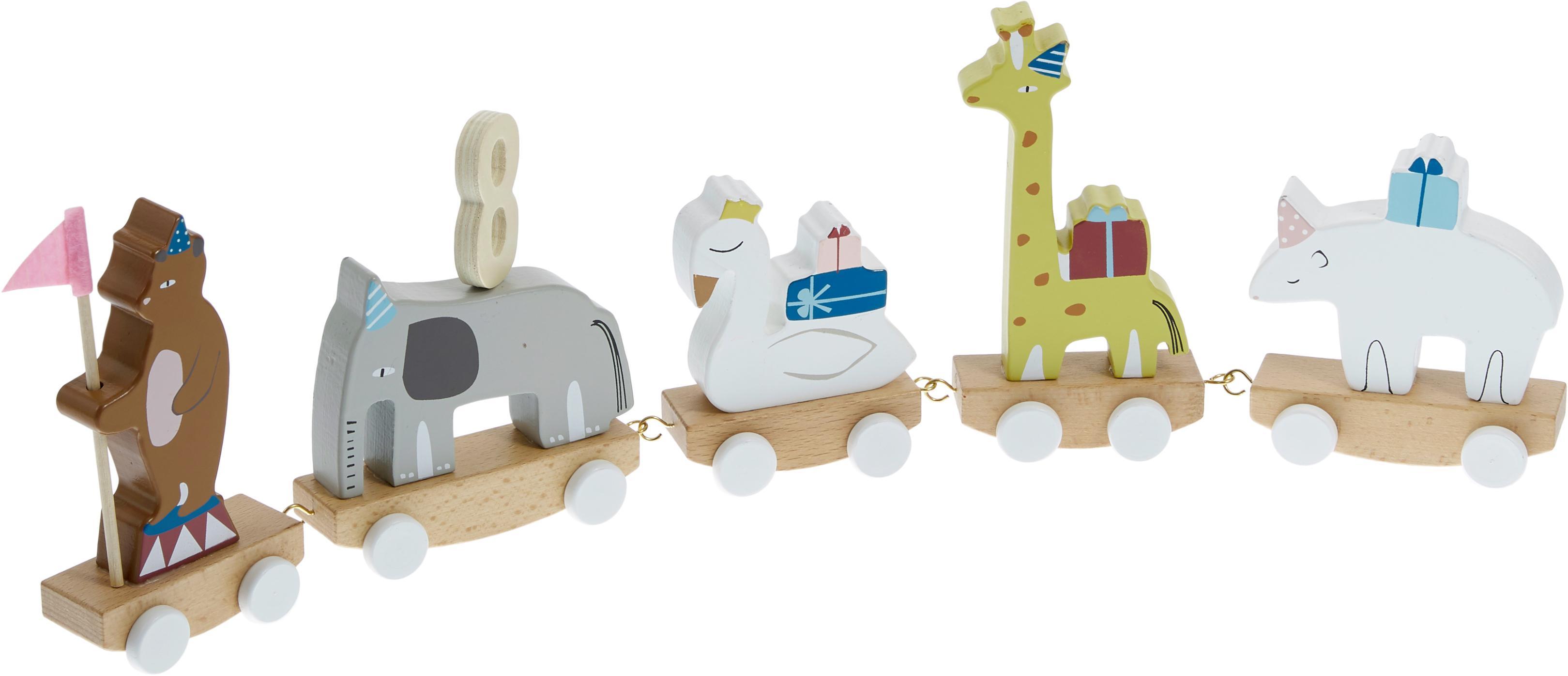 Juguete de cumpleaños Happy Animals, Madera de haya, tablero de fibras de densidad media (MDF), madera de loto contrachapada, metal, fieltro, Multicolor, An 50 x Al 16 cm