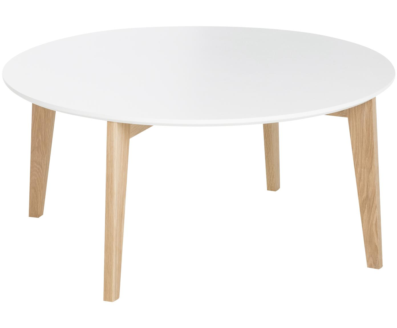 Tavolino da salotto rotondo scandi Lucas, Piano d'appoggio: pannello di fibra a media, Gambe: legno di quercia, Bianco, legno di quercia, Ø 90 x Alt. 42 cm