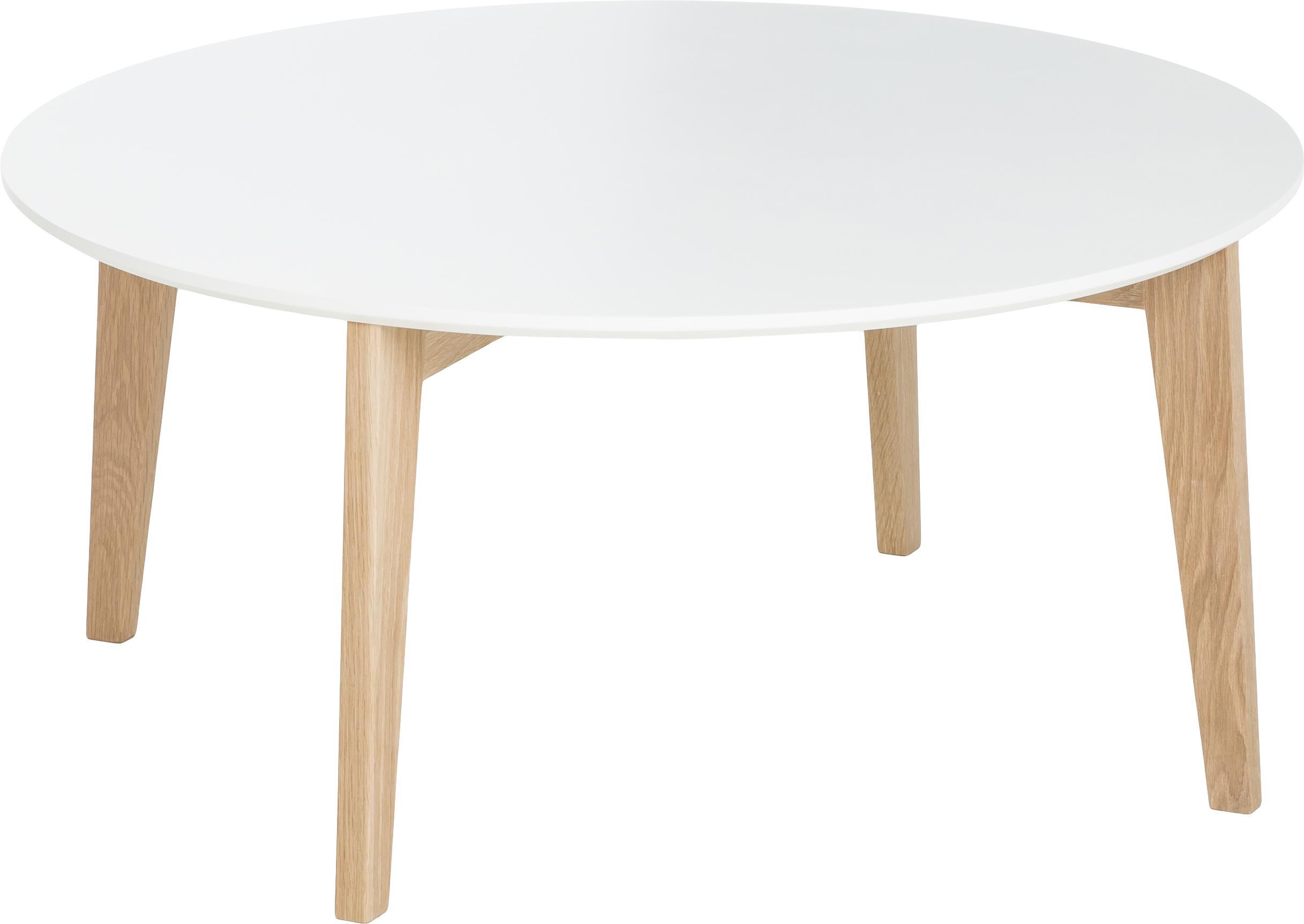 Duży stolik kawowy Lucas, Blat: płyta pilśniowa średniej , Nogi: drewno dębowe, Biały, drewno dębowe, Ø 90 x W 42 cm
