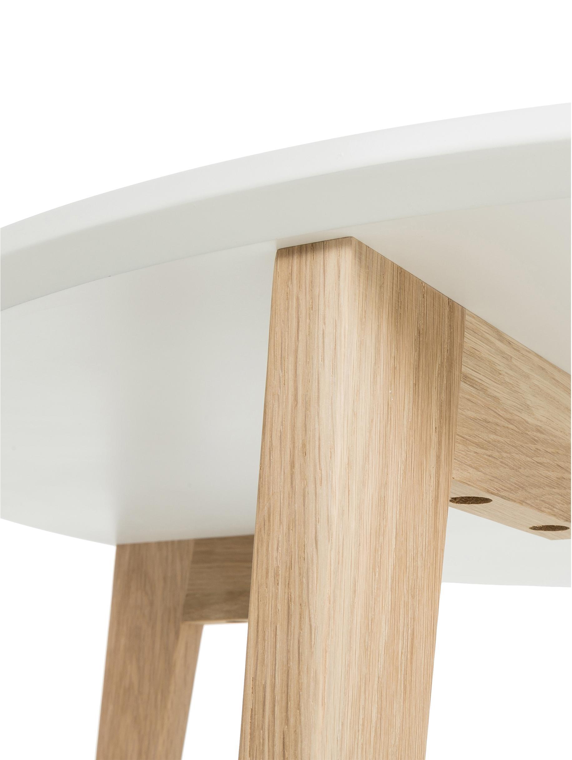 Tavolino da salotto rotondo stile nordico Lucas, Piano d'appoggio: pannello di fibra a media, Gambe: legno di quercia, Bianco, legno di quercia, Ø 90 x Alt. 42 cm