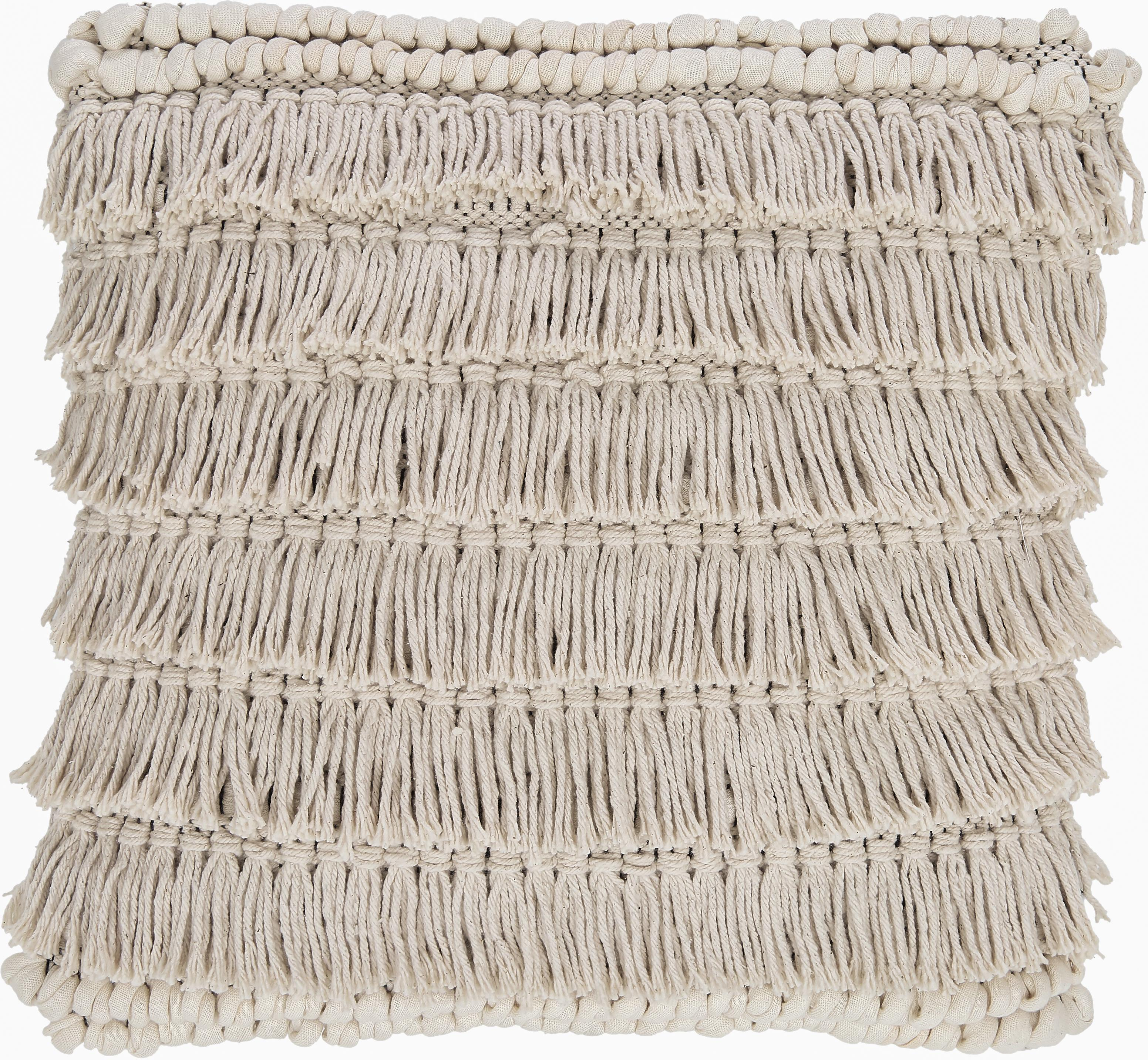 Boho Kissen Tallara, mit Inlett, Bezug: 100% recycelte Baumwolle, Cremefarben, 45 x 45 cm