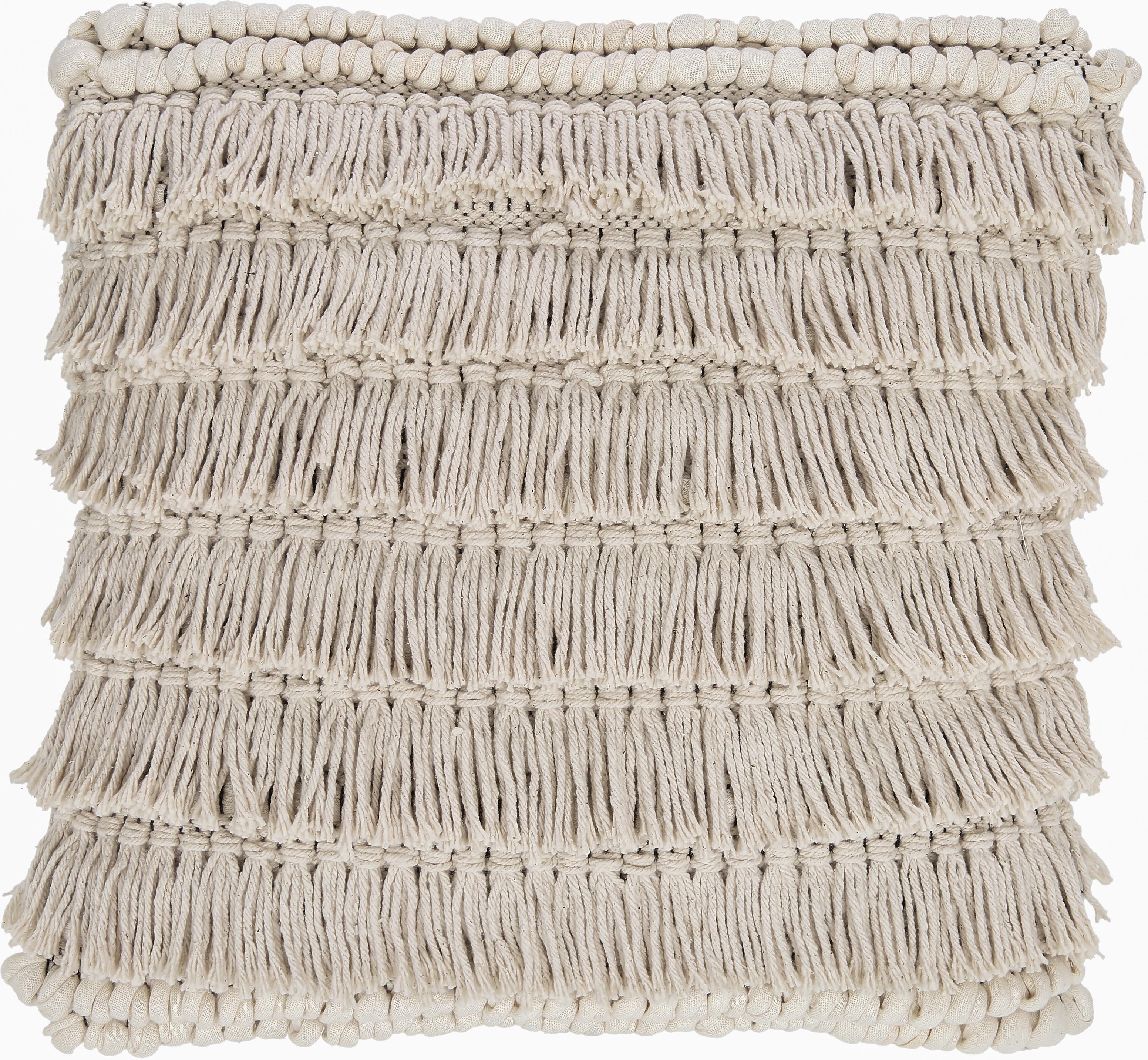 Kussen Tallara, met vulling, Bekleding: gerecycled katoen, Crèmekleurig, 45 x 45 cm