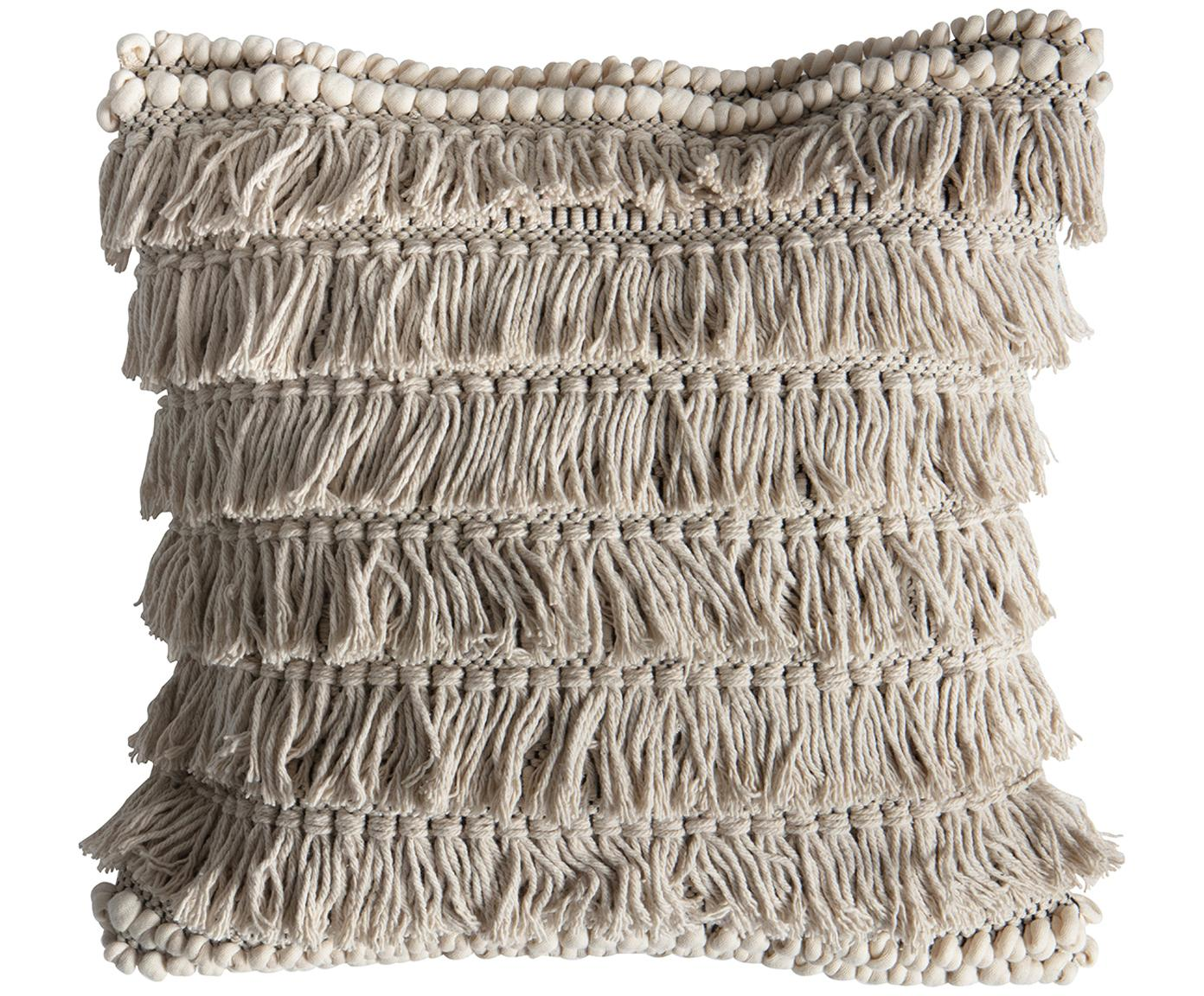 Cojín Tallara, estilo boho, con relleno, Funda: 100%algodón reciclado, Crema, An 45 x L 45 cm