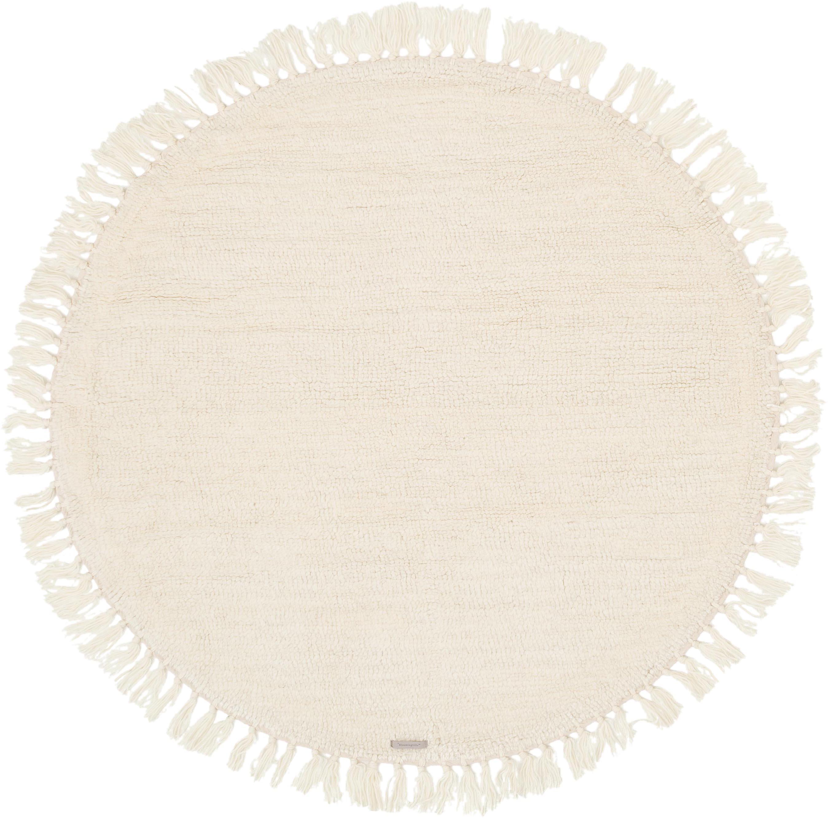 Runder Wollteppich Alma in Creme mit Fransen, Creme, Ø 126 cm (Größe M)