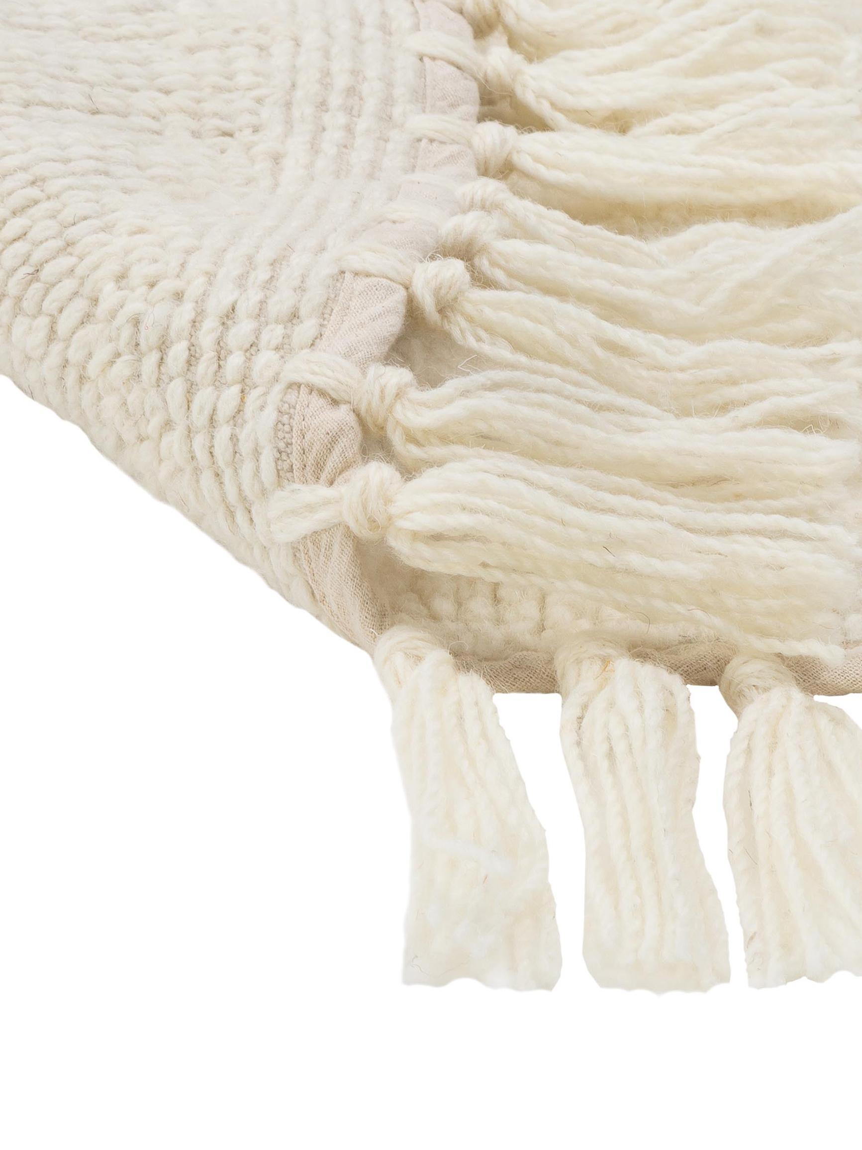 Runder Wollteppich Alma in Creme mit Fransen, Creme, Ø 126 cm (Grösse M)