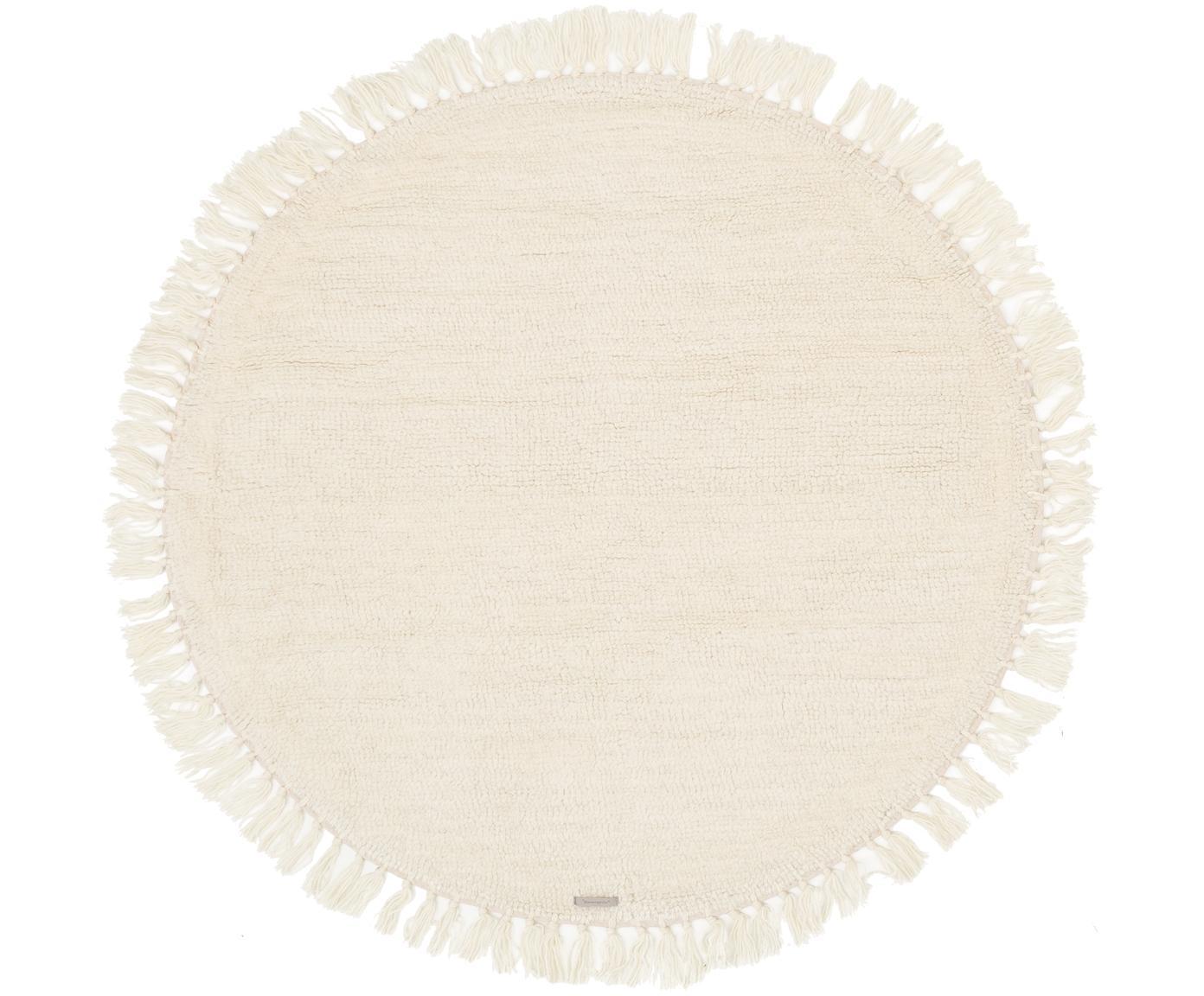 Rond wollen vloerkleed Alma in crème met franjes, Bovenzijde: wol, Onderzijde: wol, Crèmekleurig, Ø 126 cm (maat M)