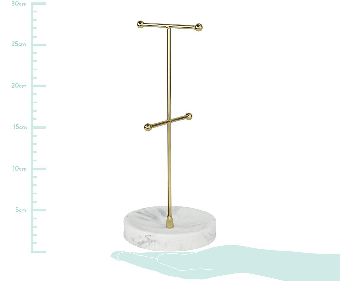 Schmuckhalter Lux, Sockel: Polyresin, Stange: Metall, beschichtet, Weiß, Messingfarben, Ø 12 x H 28 cm
