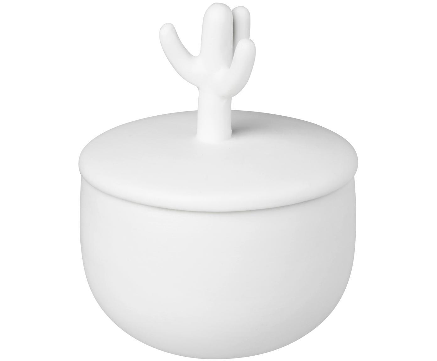 Bote decorativo pequeño Kaktus, Porcelana, Blanco, Ø 4 x Al 6 cm