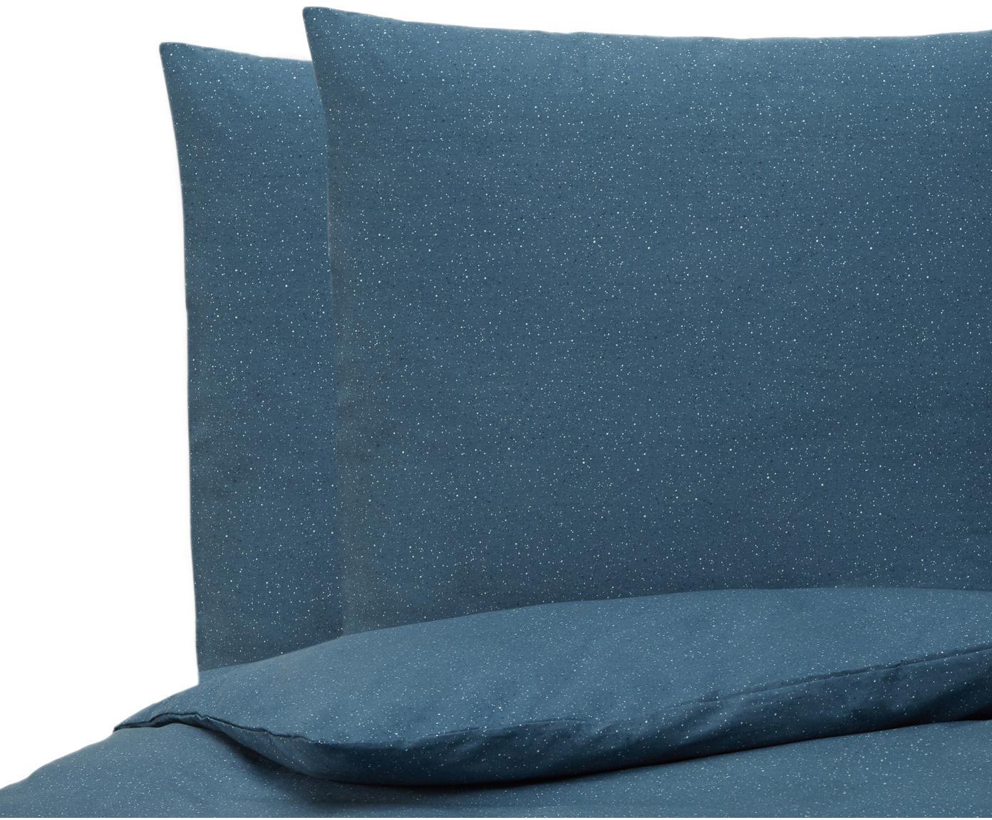 Baumwollperkal-Bettwäsche Chromite mit Sprenkel-Muster, Webart: Perkal Perkal ist ein fei, Dunkelblau, Weiß, Hellgrau, 200 x 200 cm + 2 Kissen 80 x 80 cm
