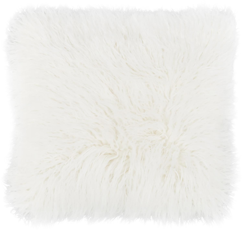 Federa arredo in soffice pelliccia sintetica Morten, Retro: 100% poliestere, Crema, Larg. 40 x Lung. 40 cm