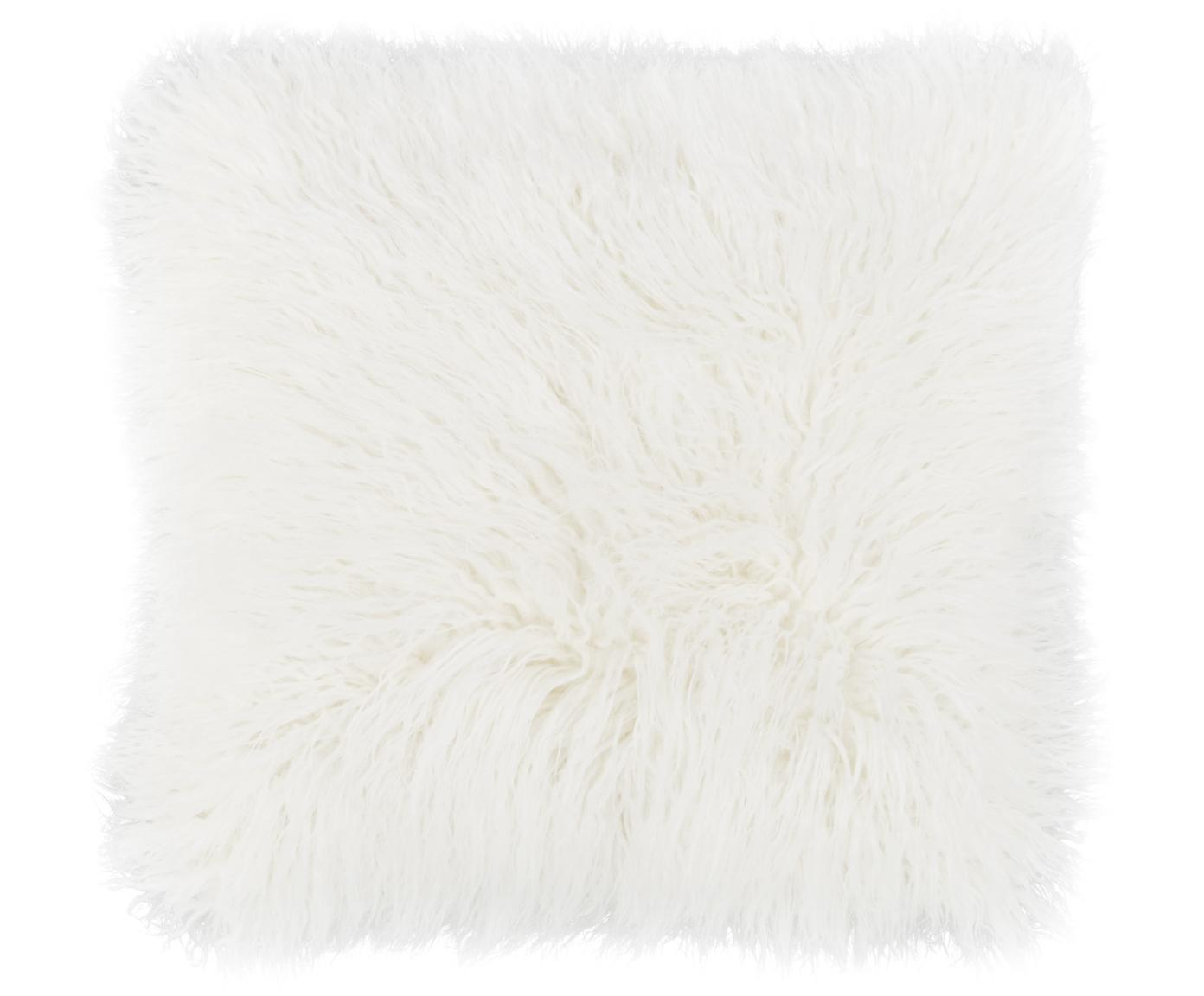 Flauschige Kunstfell-Kissenhülle Morten, gelockt, Vorderseite: 67% Acryl, 33% Polyester, Rückseite: 100% Polyester, Creme, 40 x 40 cm