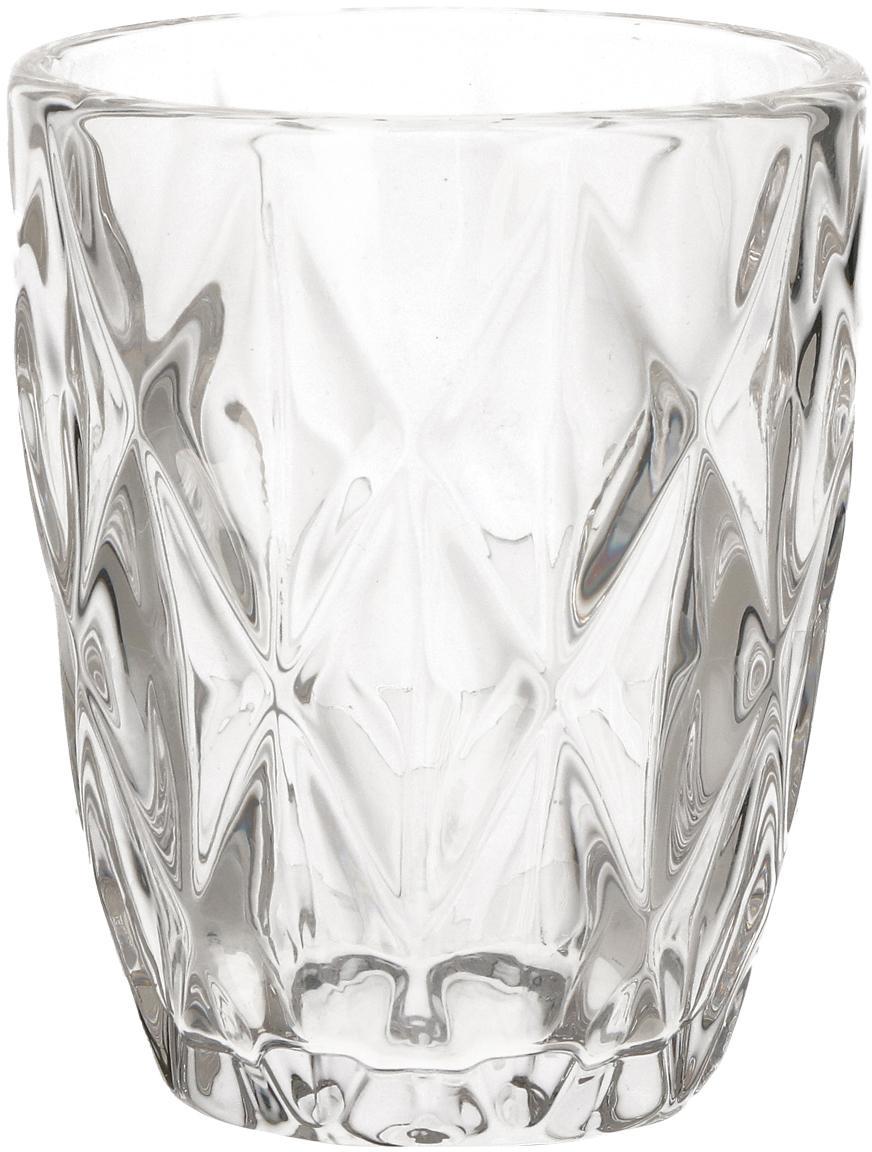 Vasos con relieve Diamond, 6uds., Vidrio, Transparente, Ø 8 x Al 10 cm