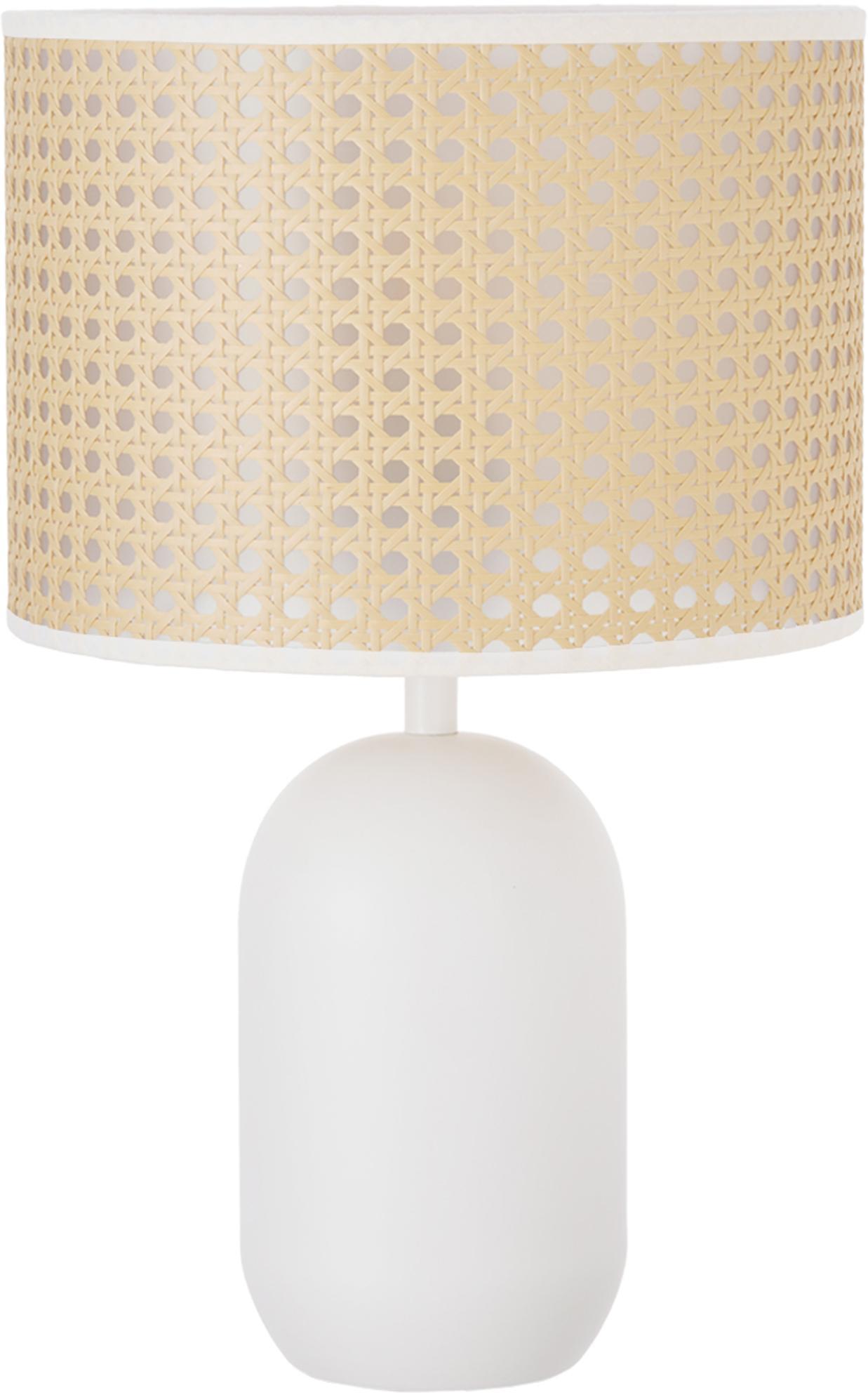 Lámpara de mesa de mimbre Vienna, Pantalla: plástico, Cable: cubierto en tela, Beige, blanco, ∅ 25 x Al 40 cm
