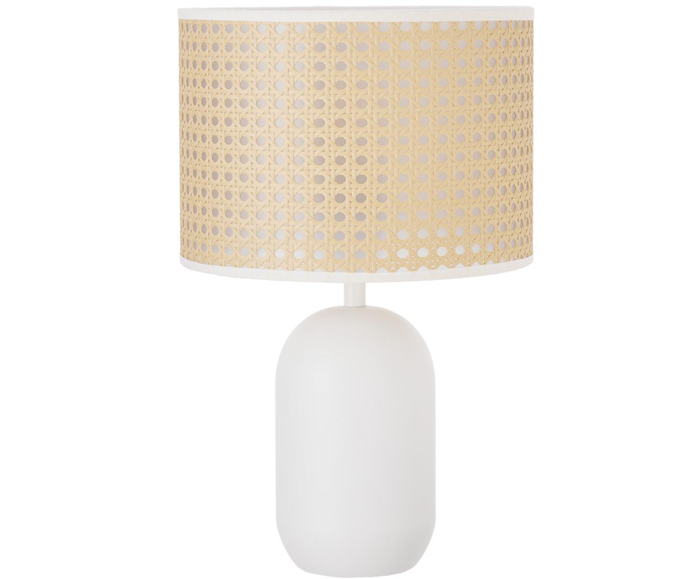 Tafellamp Vienna, Lampenkap: kunststof, Lampvoet: gepoedercoat metaal, Lampenkap: beige, wit. Lampvoet: mat wit. Snoer: wit, Ø 25 x H 40 cm