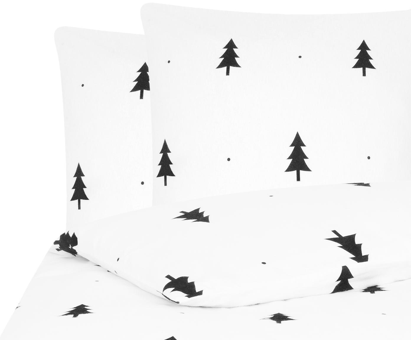 Flanell-Bettwäsche X-mas Tree in Weiß/Schwarz, Webart: Flanell Flanell ist ein s, Weiß, Schwarz, 240 x 220 cm + 2 Kissen 80 x 80 cm