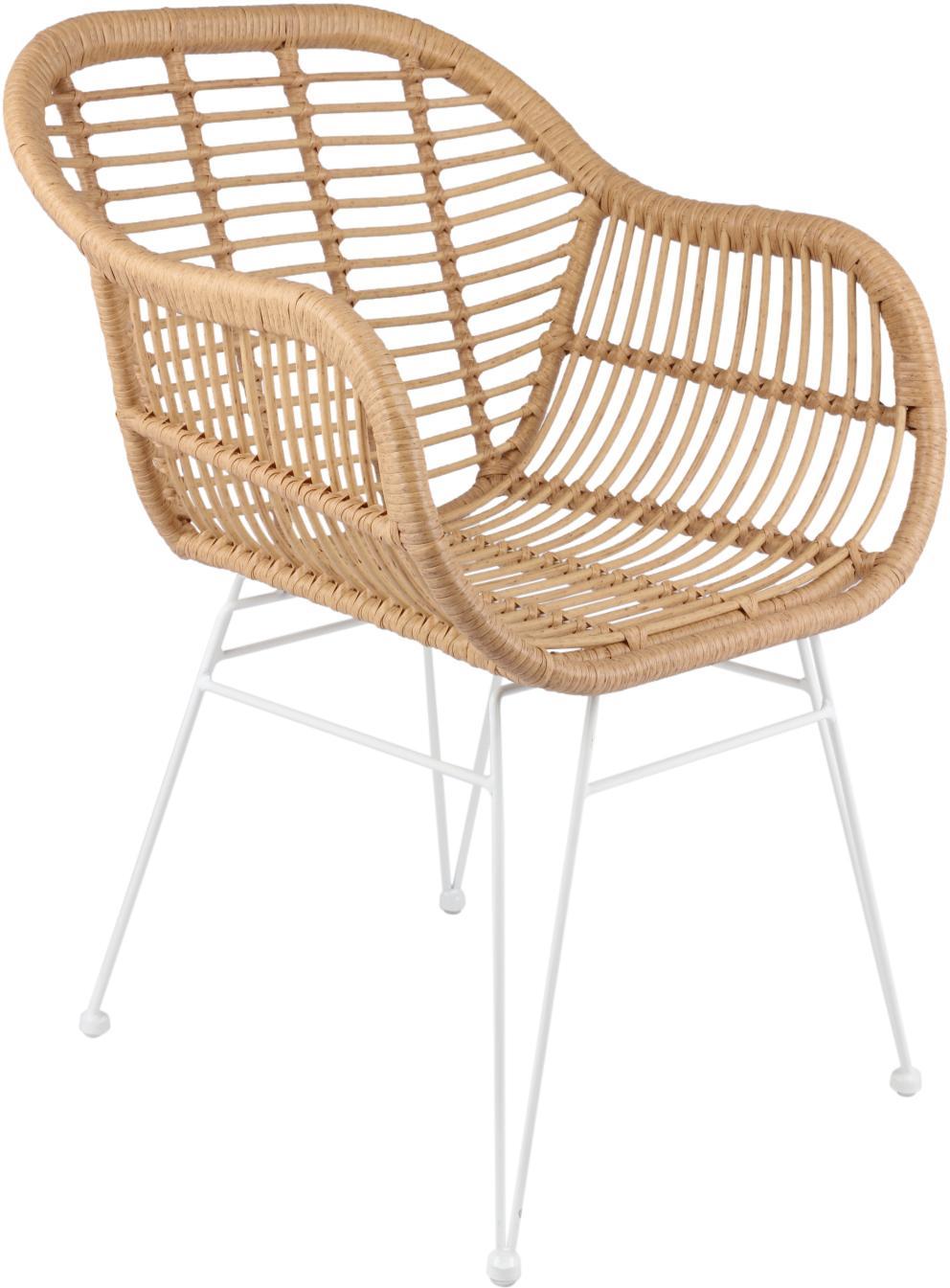Polyrattan-Armlehnstühle Costa, 2 Stück, Sitzfläche: Polyethylen-Geflecht, Gestell: Metall, pulverbeschichtet, Hellbraun, Beine Weiss, B 59 x T 58 cm