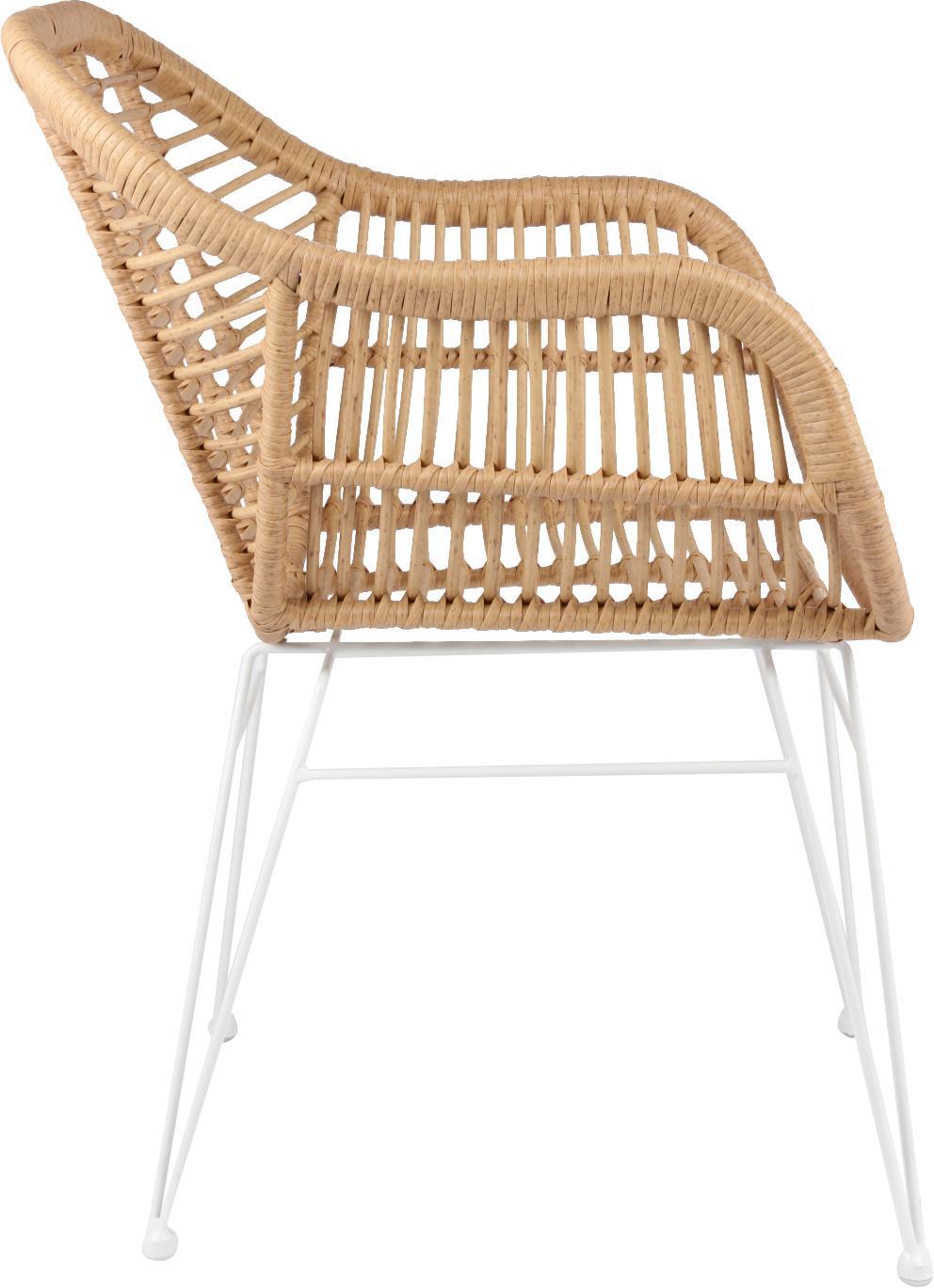 Sedia con braccioli Costa 2 pz, Seduta: intreccio polietilene, Struttura: metallo verniciato a polv, Marrone chiaro, gambe bianco, Larg. 60 x Prof. 58 cm