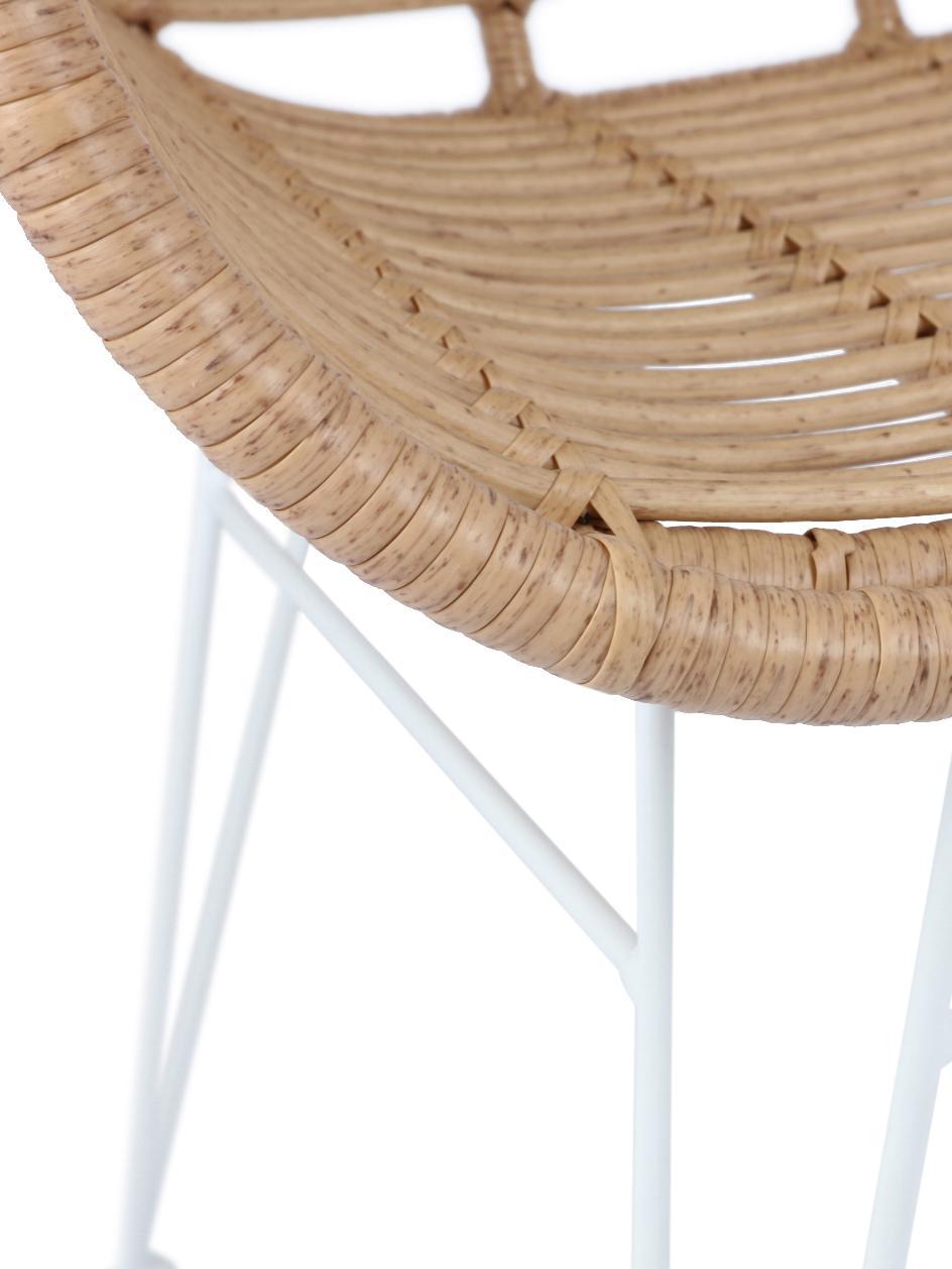 Sillas con reposabrazos Costa, 2uds., Asiento: polietileno, Estructura: metal con pintura en polv, Beige, blanco, An 60 x F 58 cm