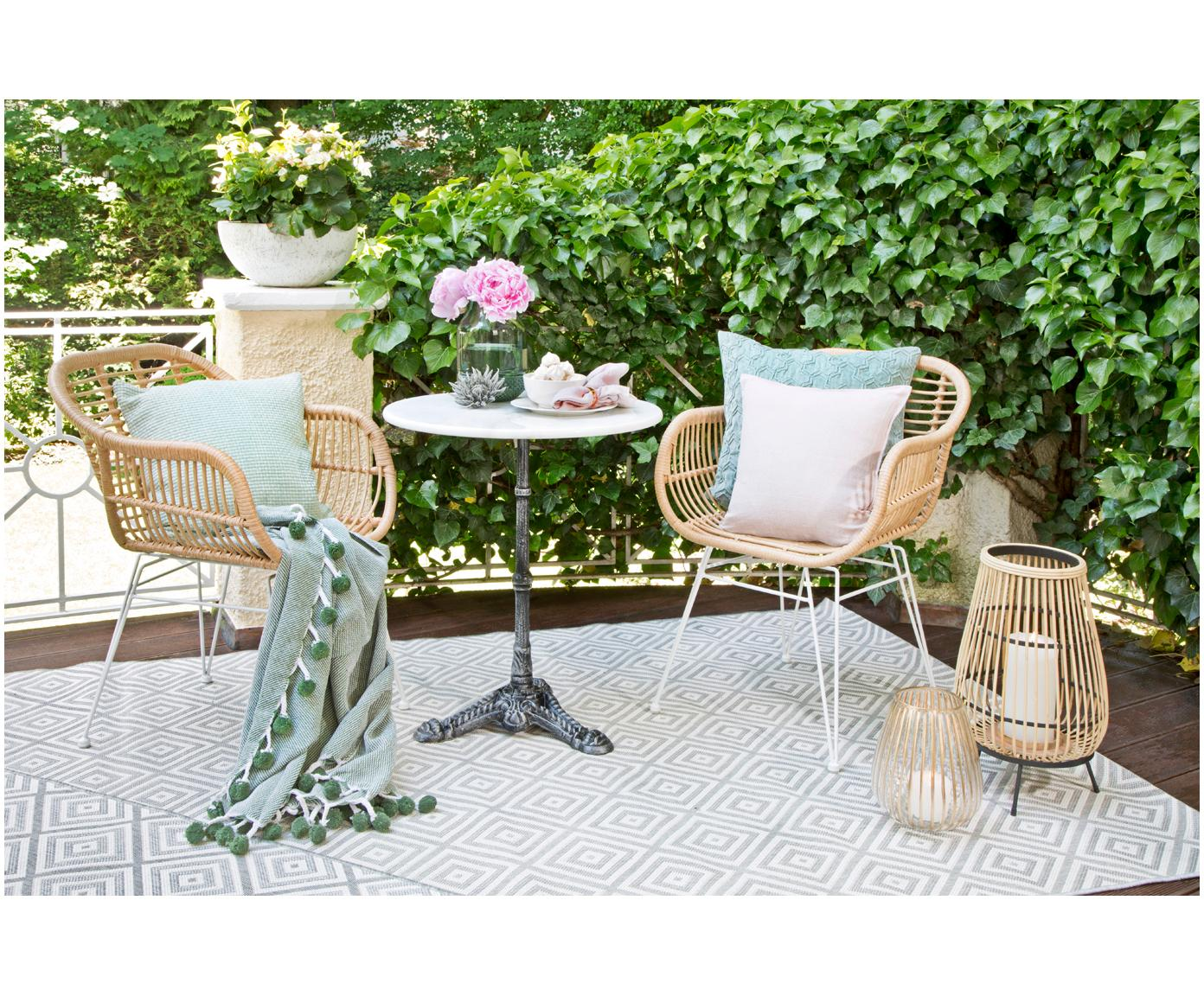 Polyratanová židle spodručkami Costa, 2ks, Světle hnědá Nohy: bílá