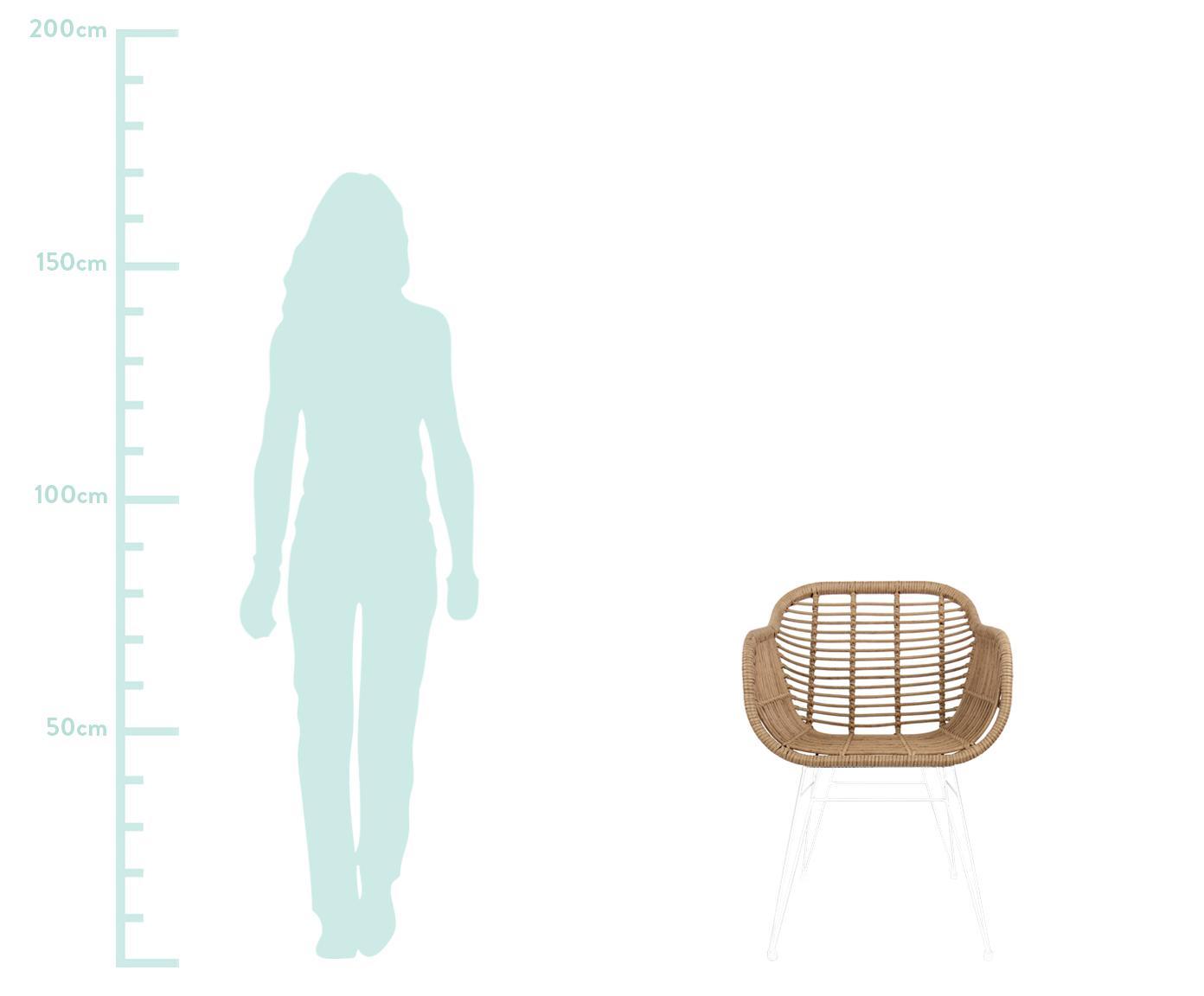 Krzesło z podłokietnikami z polirattanu Costa, 2 szt., Stelaż: metal malowany proszkowo, Jasny brązowy, nogi: biały, S 60 x G 58 cm