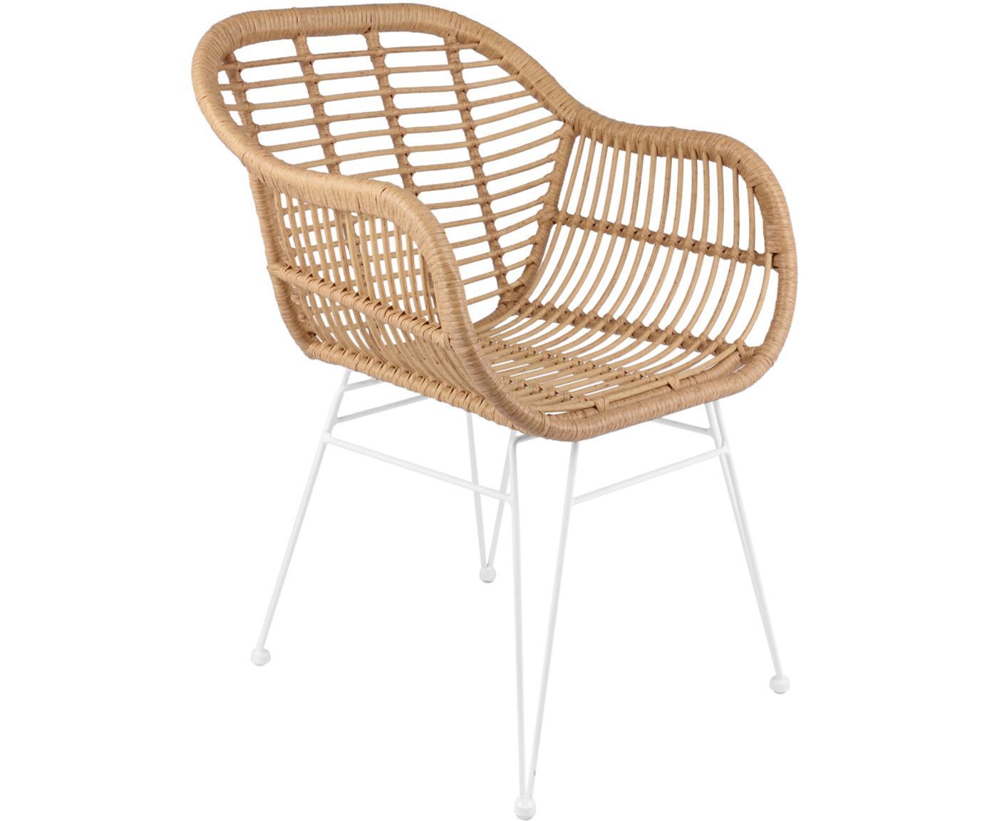 Polyrattan-Armlehnstühle Costa, 2 Stück, Sitzfläche: Polyethylen-Geflecht, Gestell: Metall, pulverbeschichtet, Hellbraun, Beine Weiss, B 60 x T 58 cm