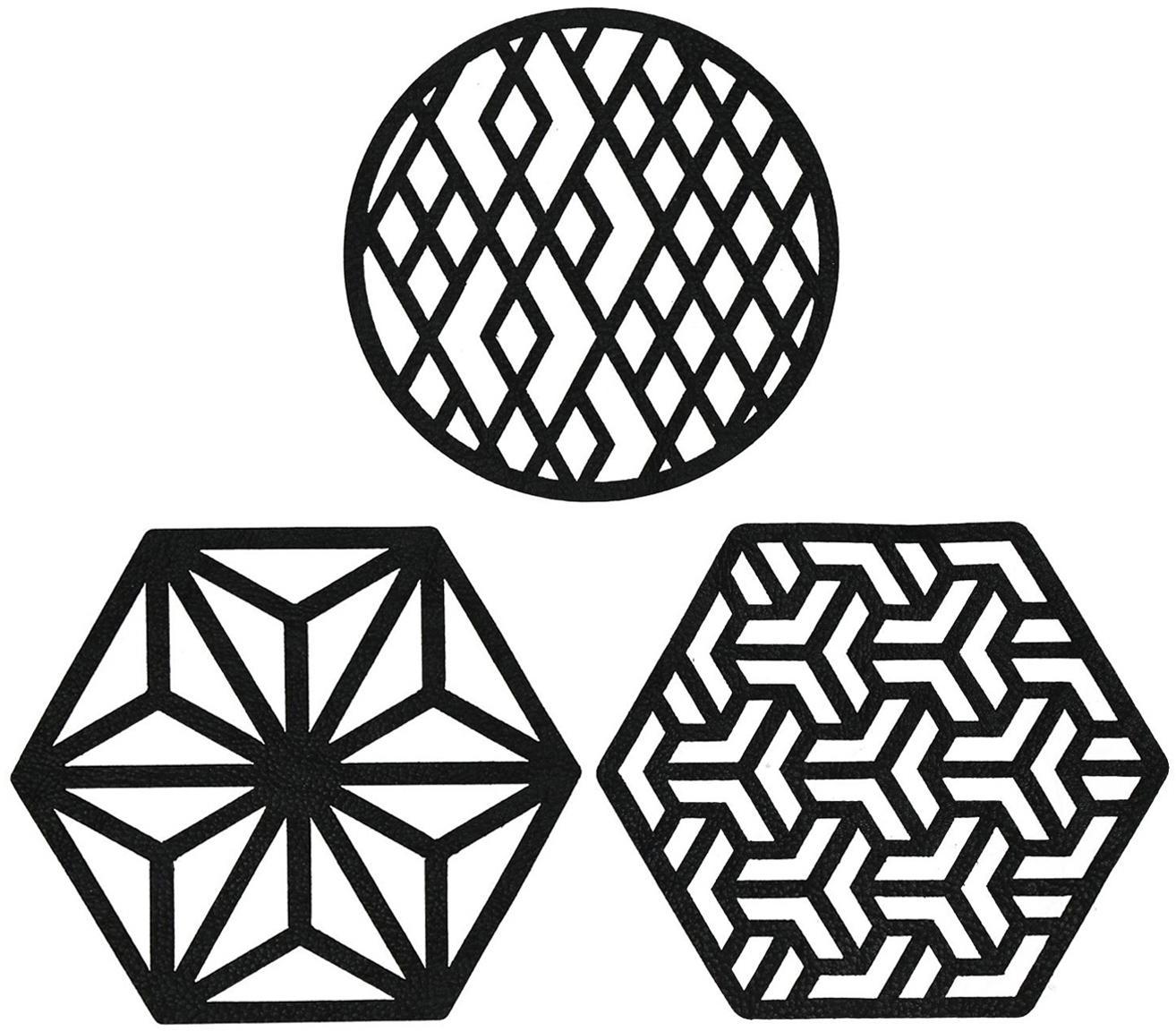 Set sottobicchieri Rama, 6 pz., Pelle sintetica, Nero, Ø 9 x A 2 cm