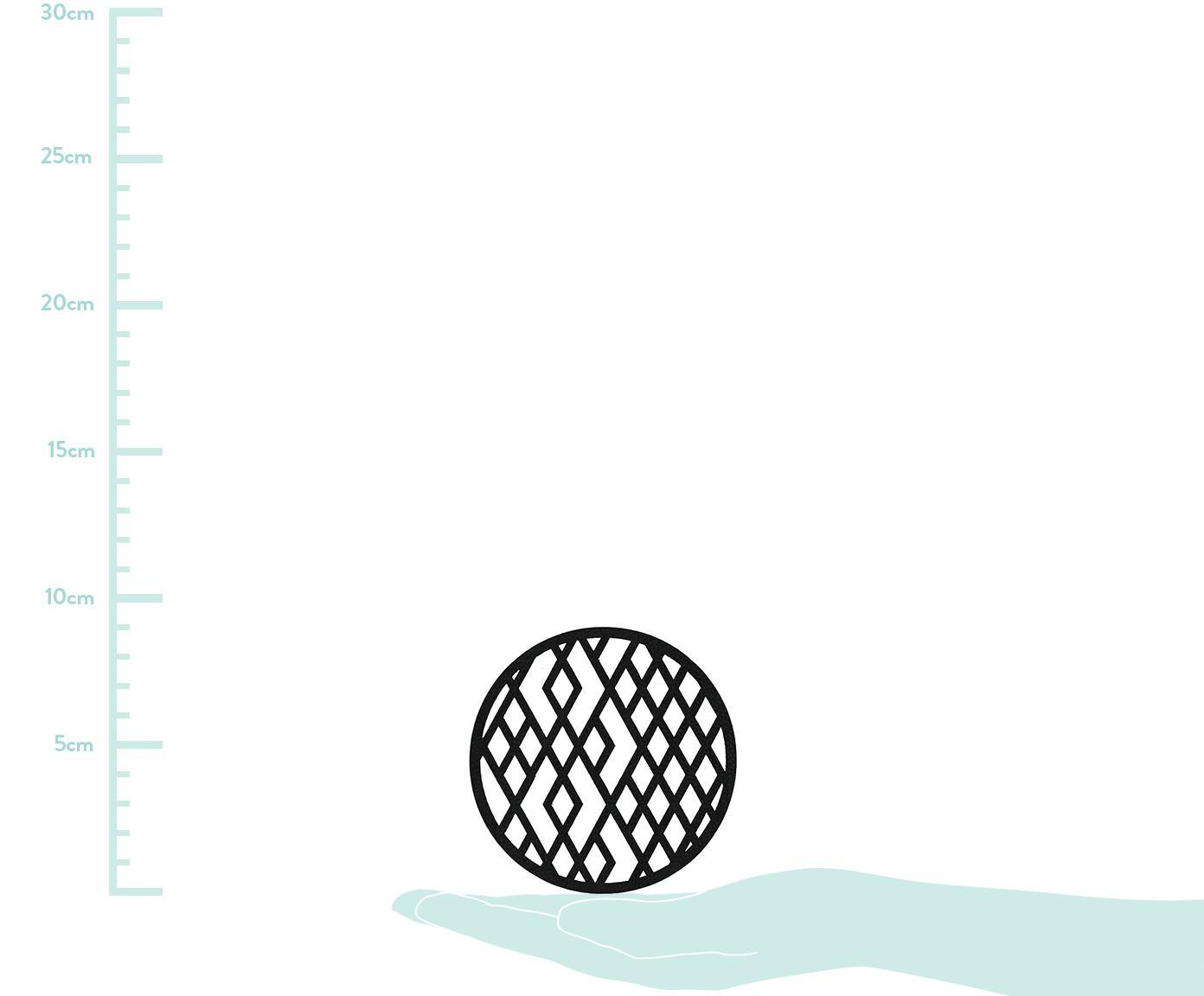 Untersetzer-Set Rama, 6-tlg., Kunstleder, Schwarz, Ø 9 x H 2 cm