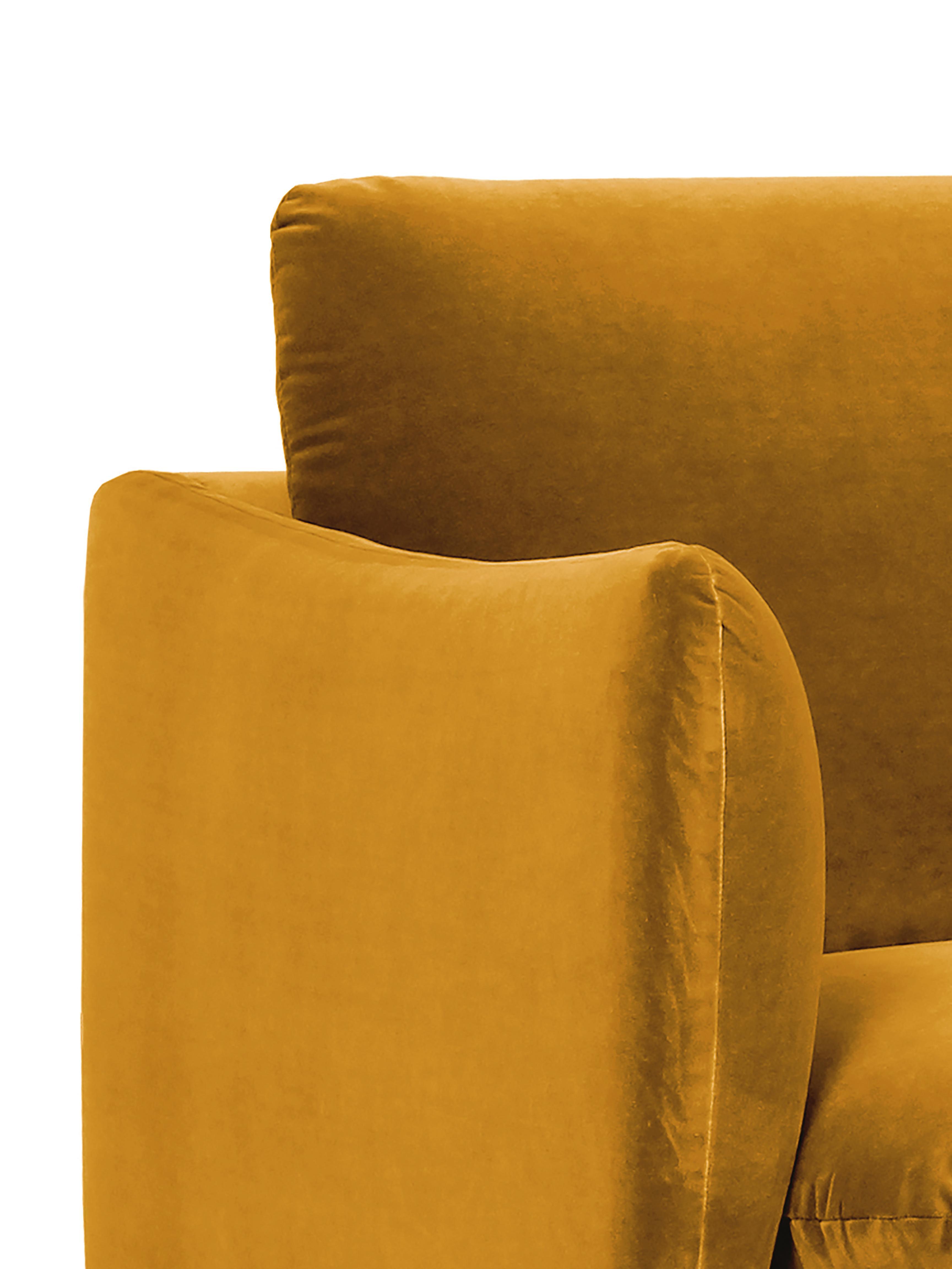 Samt-Ecksofa Moby, Bezug: Samt (Hochwertiger Polyes, Gestell: Massives Kiefernholz, Füße: Metall, pulverbeschichtet, Samt Senfgelb, B 280 x T 160 cm