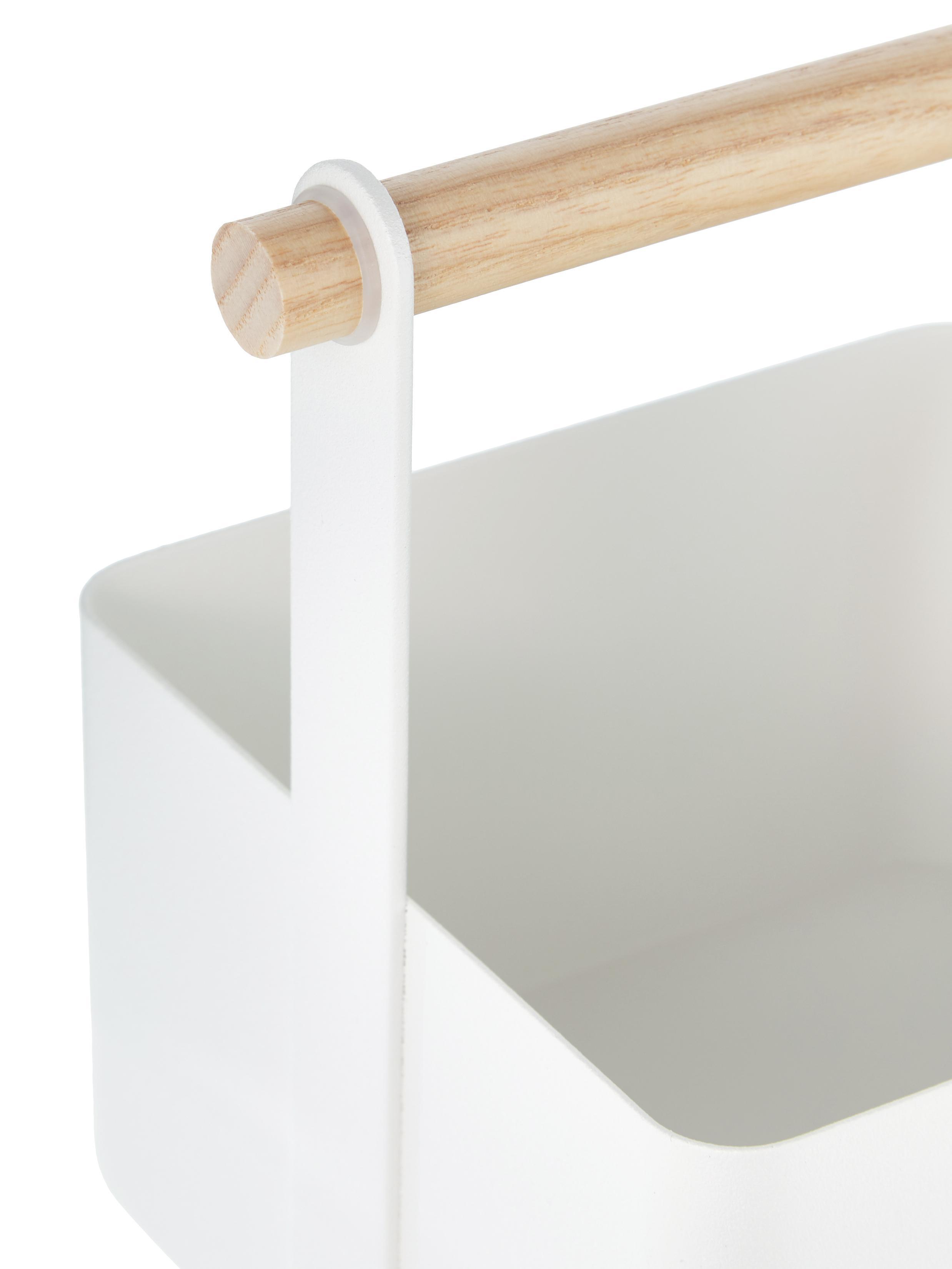 Aufbewahrungskorb Tosca, Box: Stahl, lackiert, Griff: Holz, Weiß, Braun, 16 x 16 cm