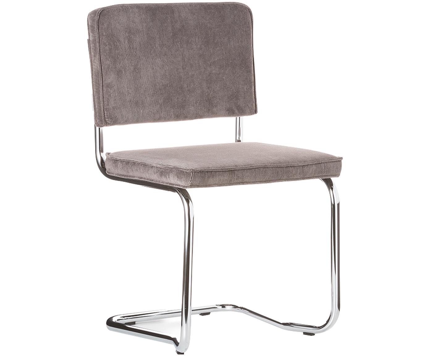 Sedia cantilever Ridge Kink Chair, Rivestimento: 88% nylon, 12% poliestere, Struttura: metallo, cromato Il rives, Grigio, Larg. 48 x Alt. 85 cm