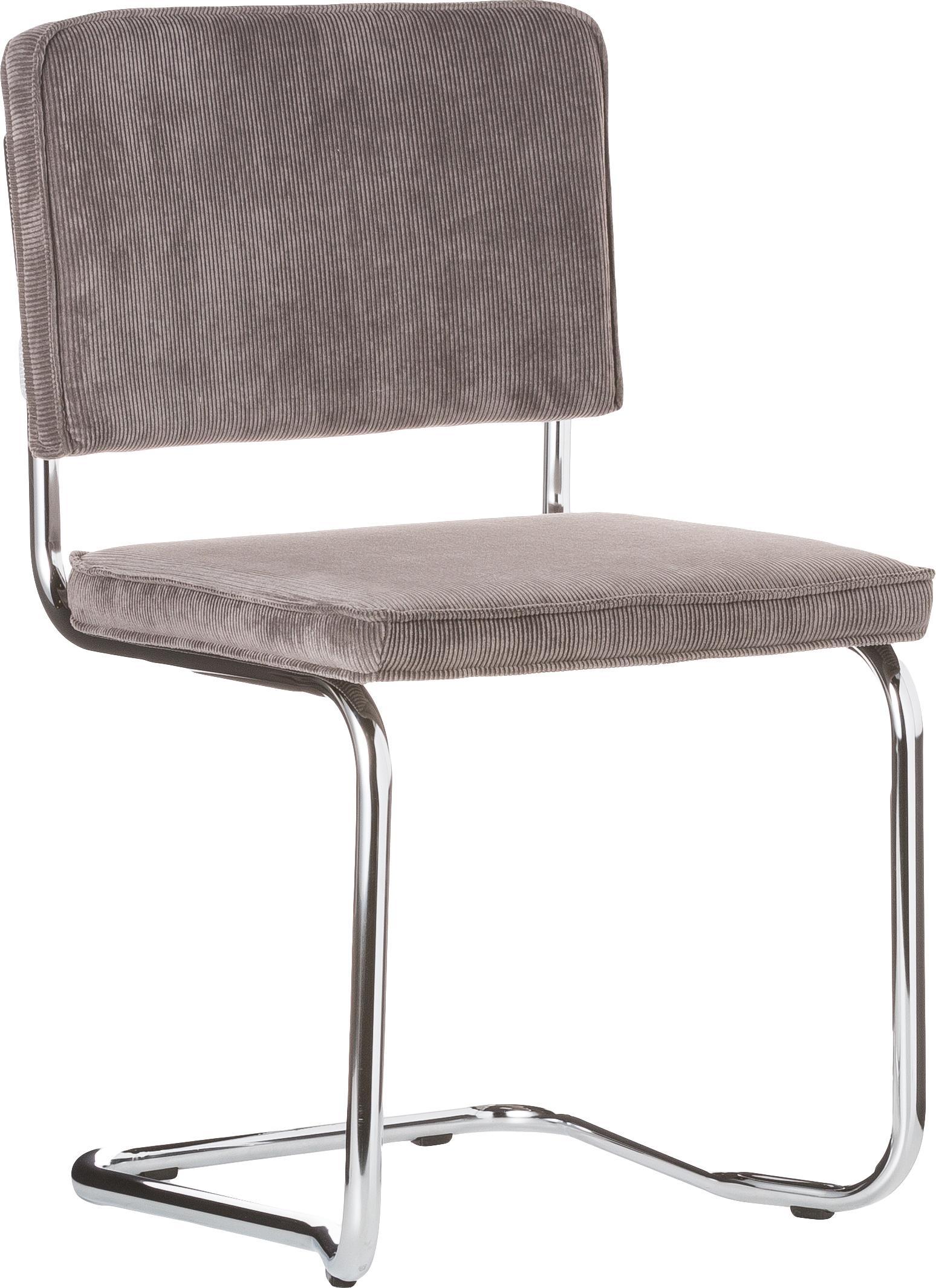 Freischwinger Ridge Kink Chair, Bezug: 88% Nylon, 12% Polyester, Gestell: Metall, verchromt Der Bez, Grau, B 48 x T 48 cm