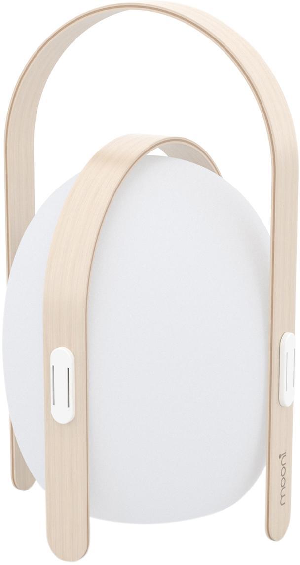 Mobile LED Außenleuchte Ovo, Lampenschirm: Kunststoff, Gestell: Ulmenholz mit Birkenfurni, Weiß, Hellbraun, Ø 32 x H 50 cm