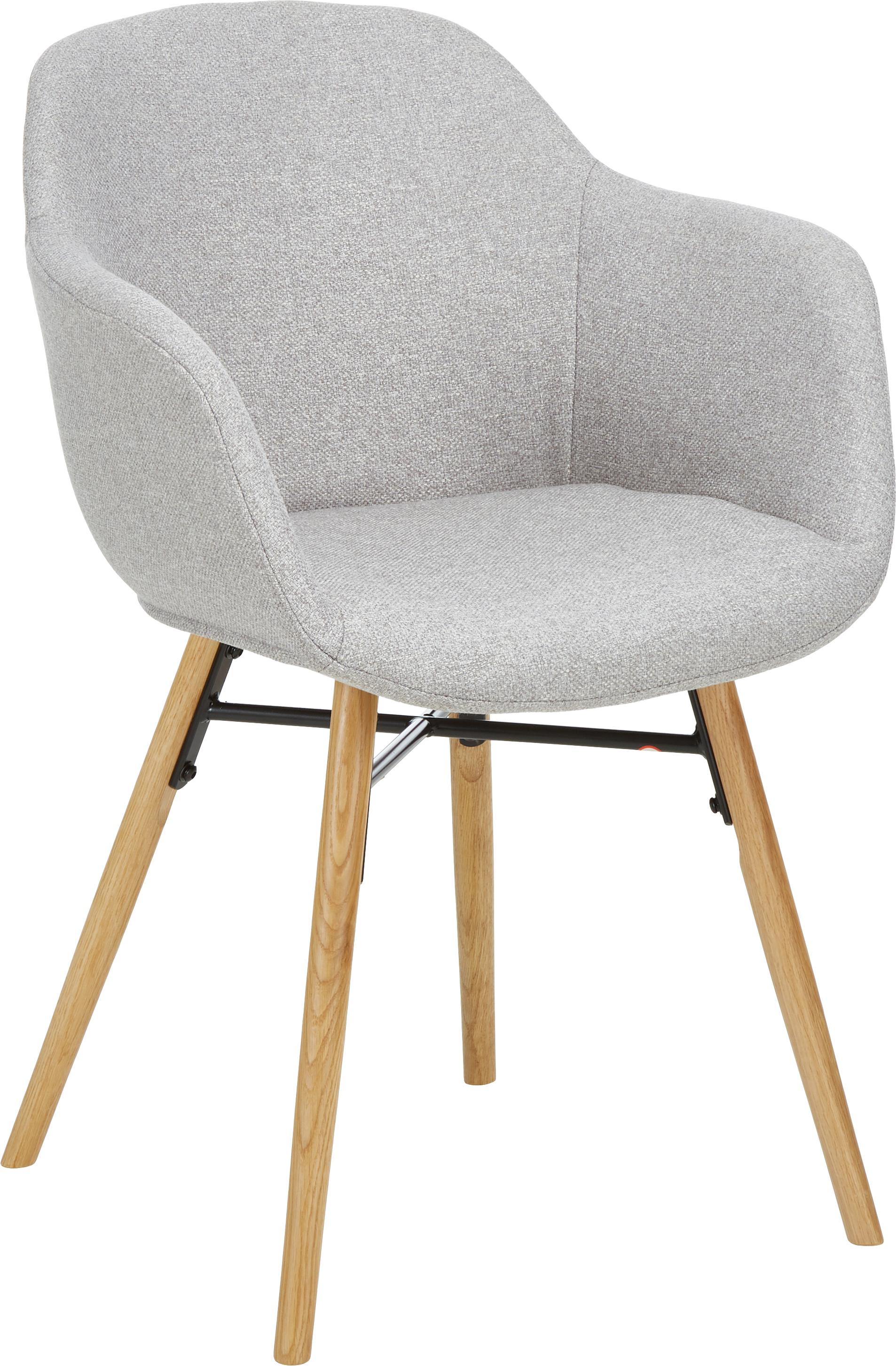 Sedia imbottita con gambe in legno Fiji, Rivestimento: poliestere 40.000 cicli d, Gambe: legno di quercia massicci, Tessuto grigio chiaro, Larg. 59 x Prof. 55 cm