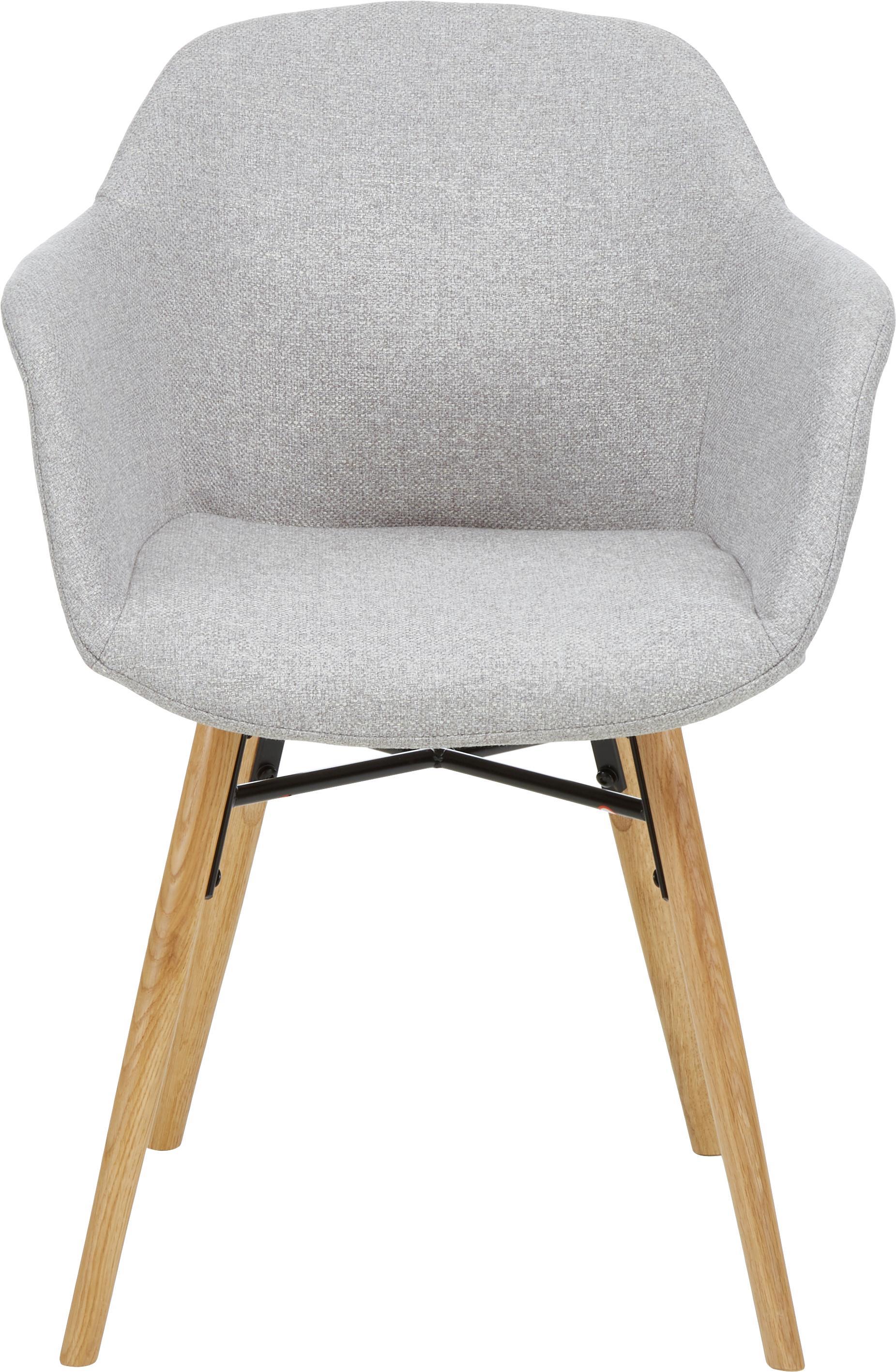 Armlehnstuhl Fiji mit Holzbeinen, Bezug: Polyester Der hochwertige, Beine: Massives Eichenholz, Webstoff Hellgrau, B 59 x T 55 cm