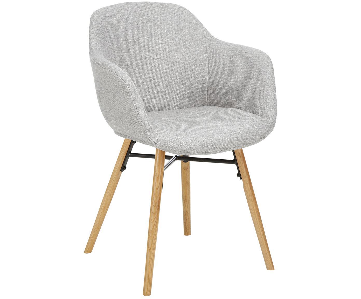 Gestoffeerde stoel Fiji met houten poten, Bekleding: polyester, Poten: massief eikenhout, Zitvlak: lichtgrijs. Poten: eikenhoutkleurig, B 59 x D 55 cm