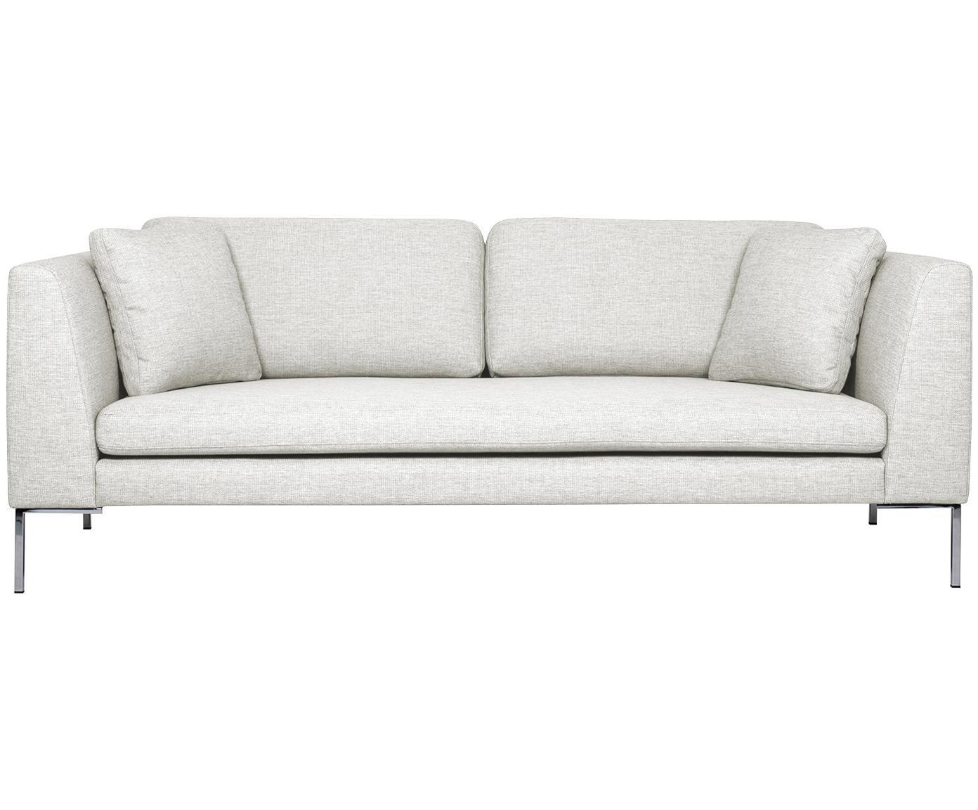 Sofa Emma (3-Sitzer), Bezug: Polyester 100.000 Scheuer, Gestell: Massives Kiefernholz, Füße: Metall, galvanisiert, Webstoff Cremeweiß, Füße Silber, B 227 x T 100 cm
